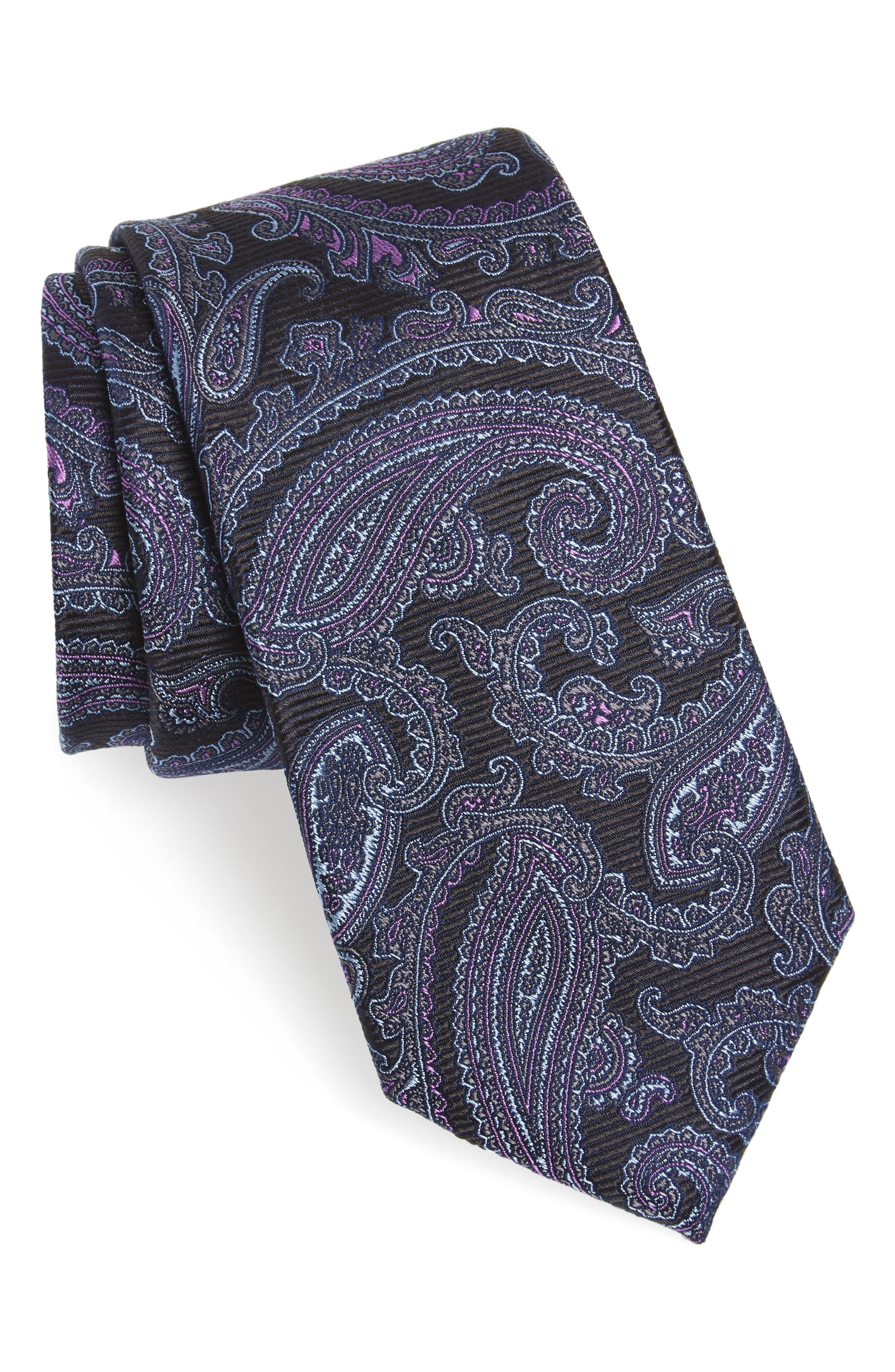 Brielle Paisley Silk Tie,                         Main,                         color, 001