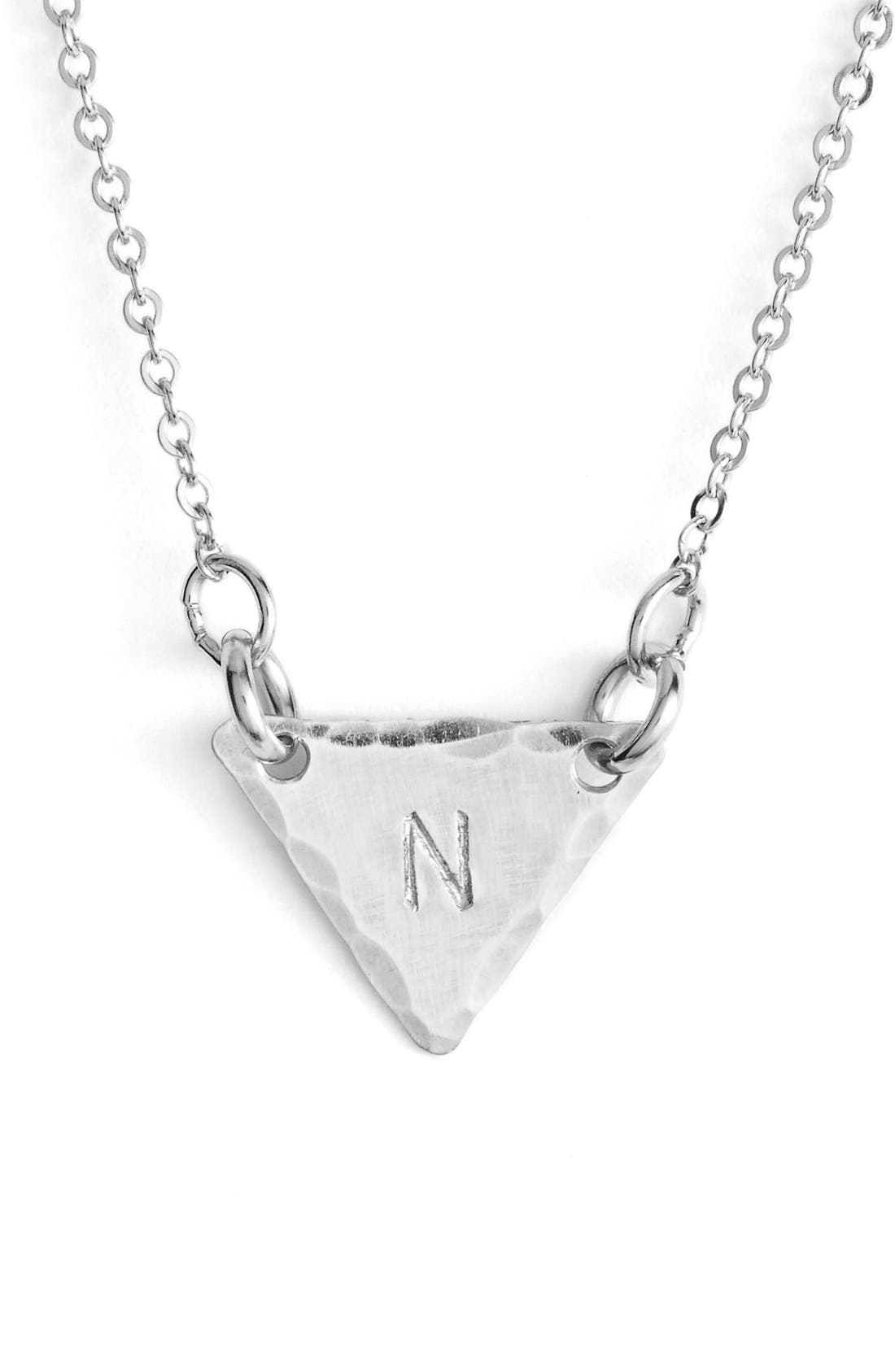 Sterling Silver Initial Mini Triangle Necklace,                             Main thumbnail 14, color,