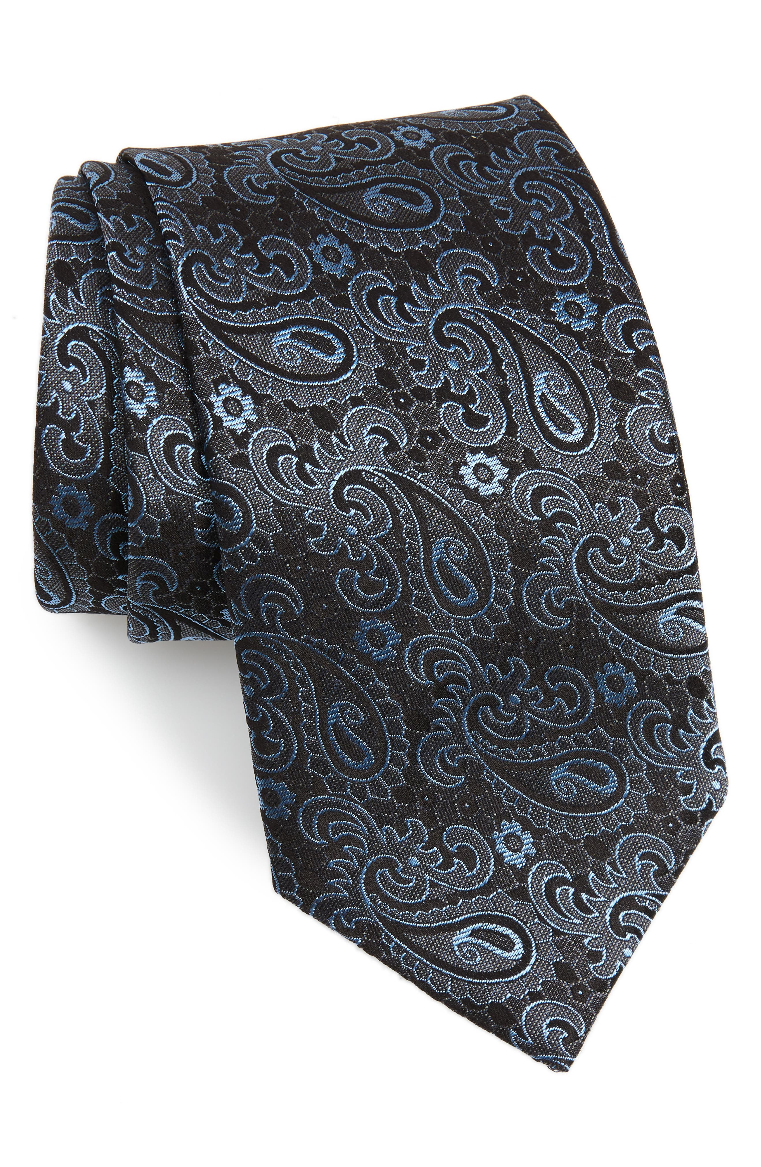 Paisley Silk Tie, Main, color, CHARCOAL