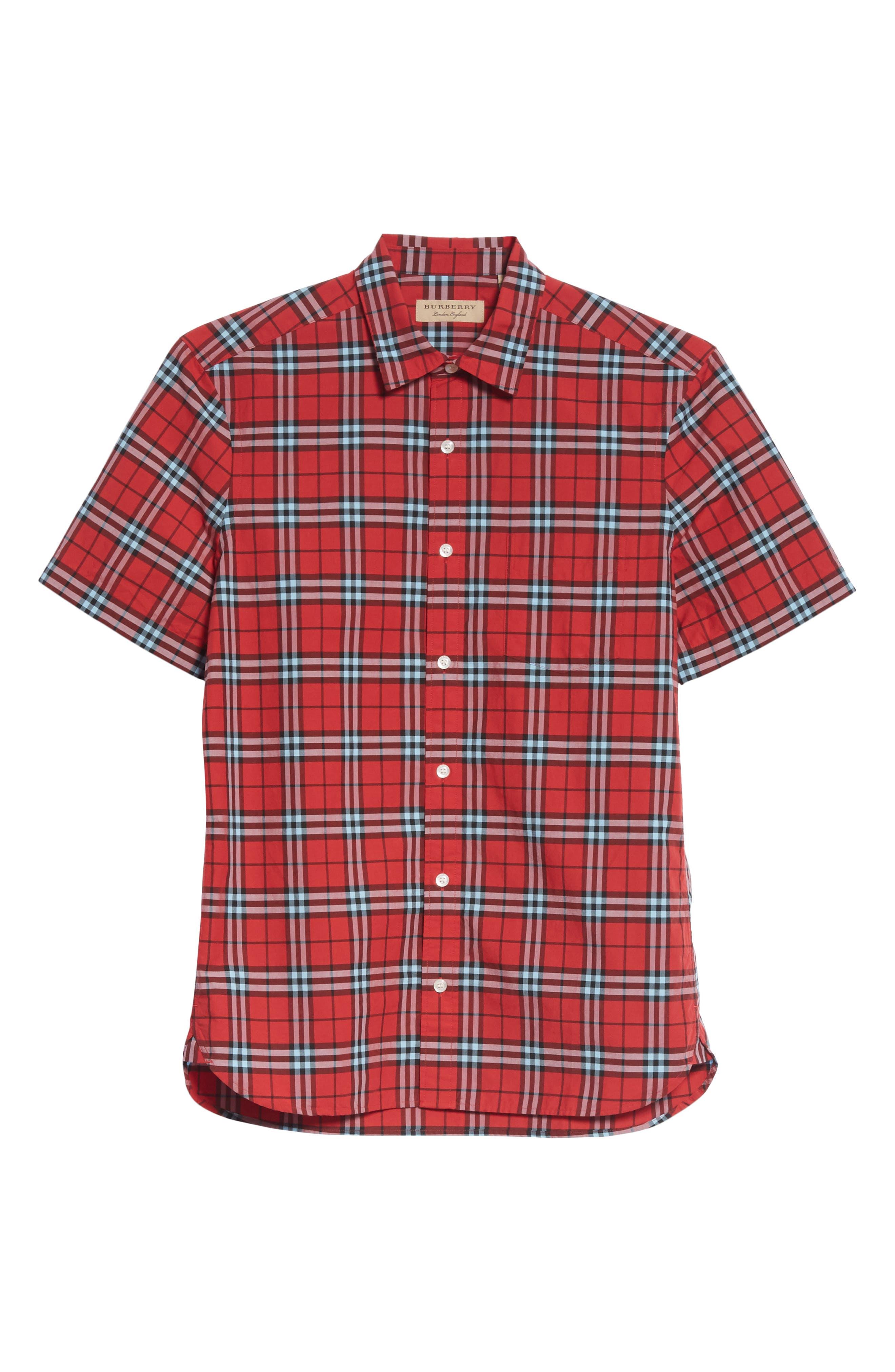 Alexander Check Sport Shirt,                             Alternate thumbnail 6, color,                             BRIGHT RED