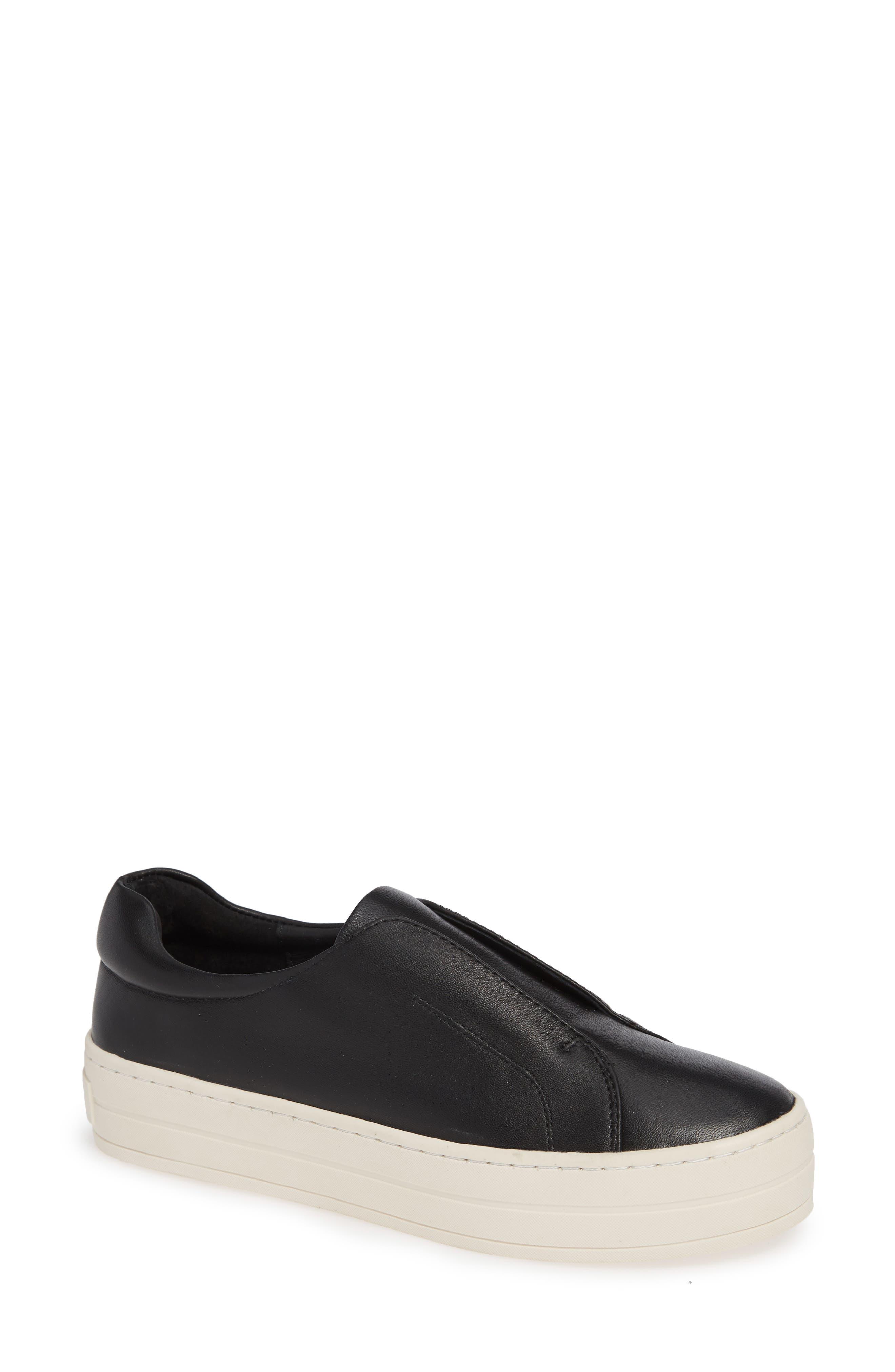 JSLIDES,                             Heidi Platform Slip-On Sneaker,                             Main thumbnail 1, color,                             BLACK LEATHER