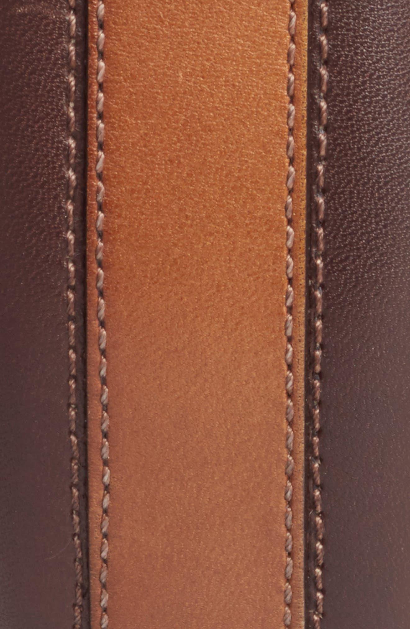 Leather Belt,                             Alternate thumbnail 2, color,                             TAN/ DARK BROWN