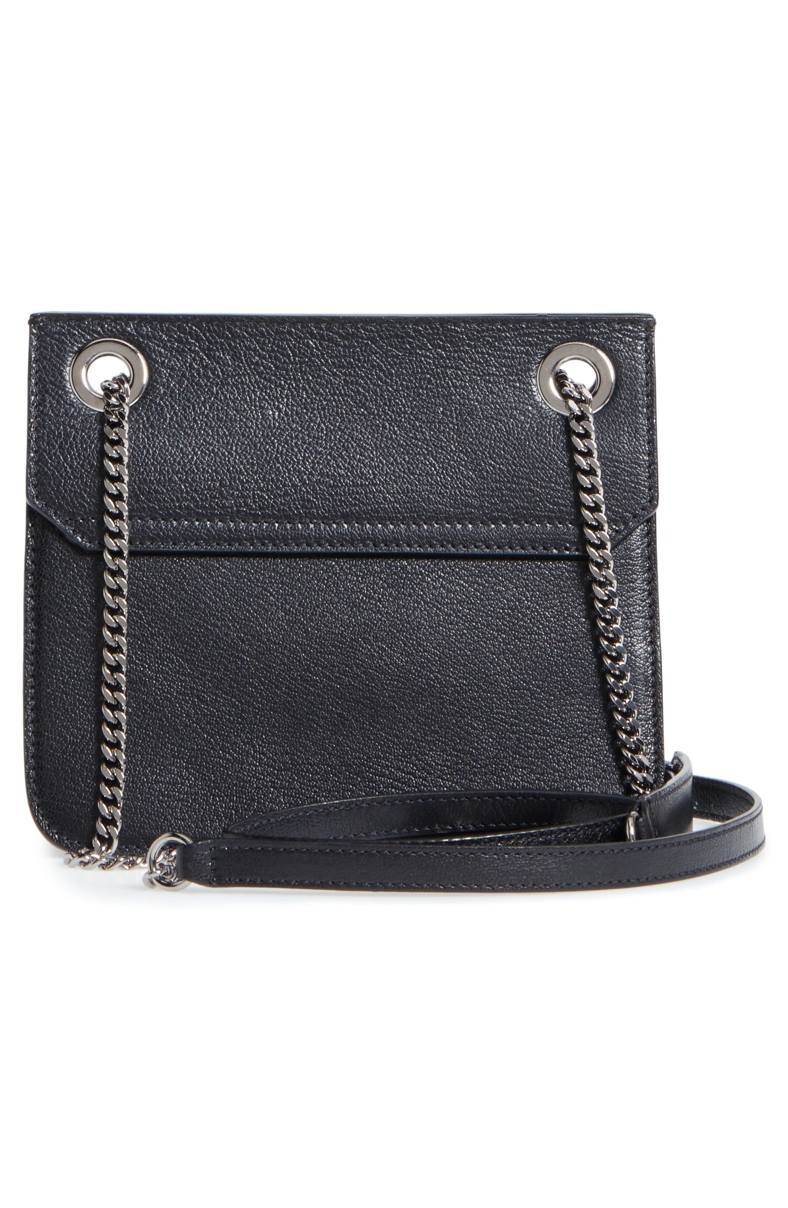 Rebel Leather Crossbody Bag,                             Alternate thumbnail 3, color,                             BLACK/ GUNMETAL