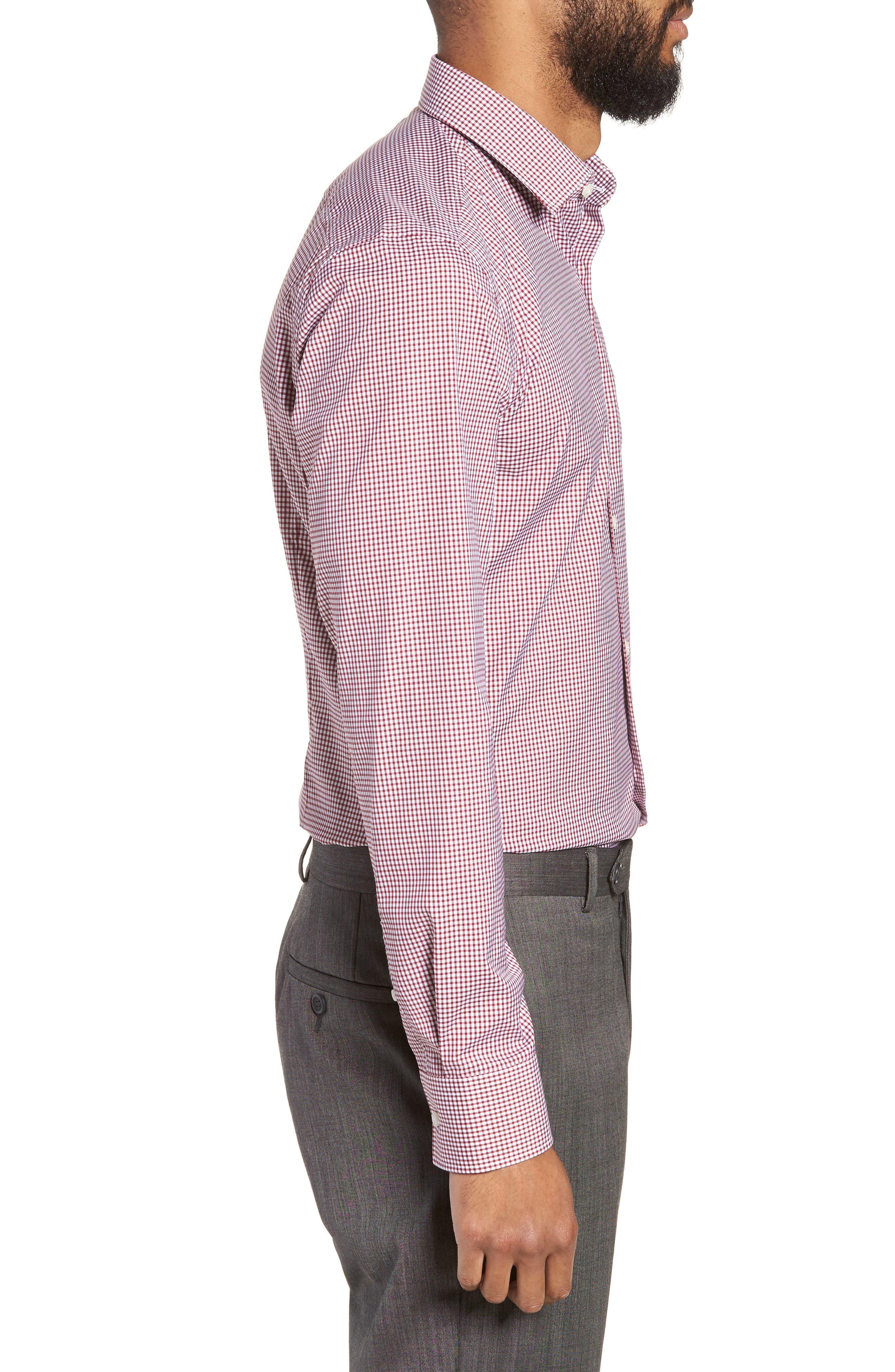 Jenno Slim Fit Check Dress Shirt,                             Alternate thumbnail 4, color,                             RED