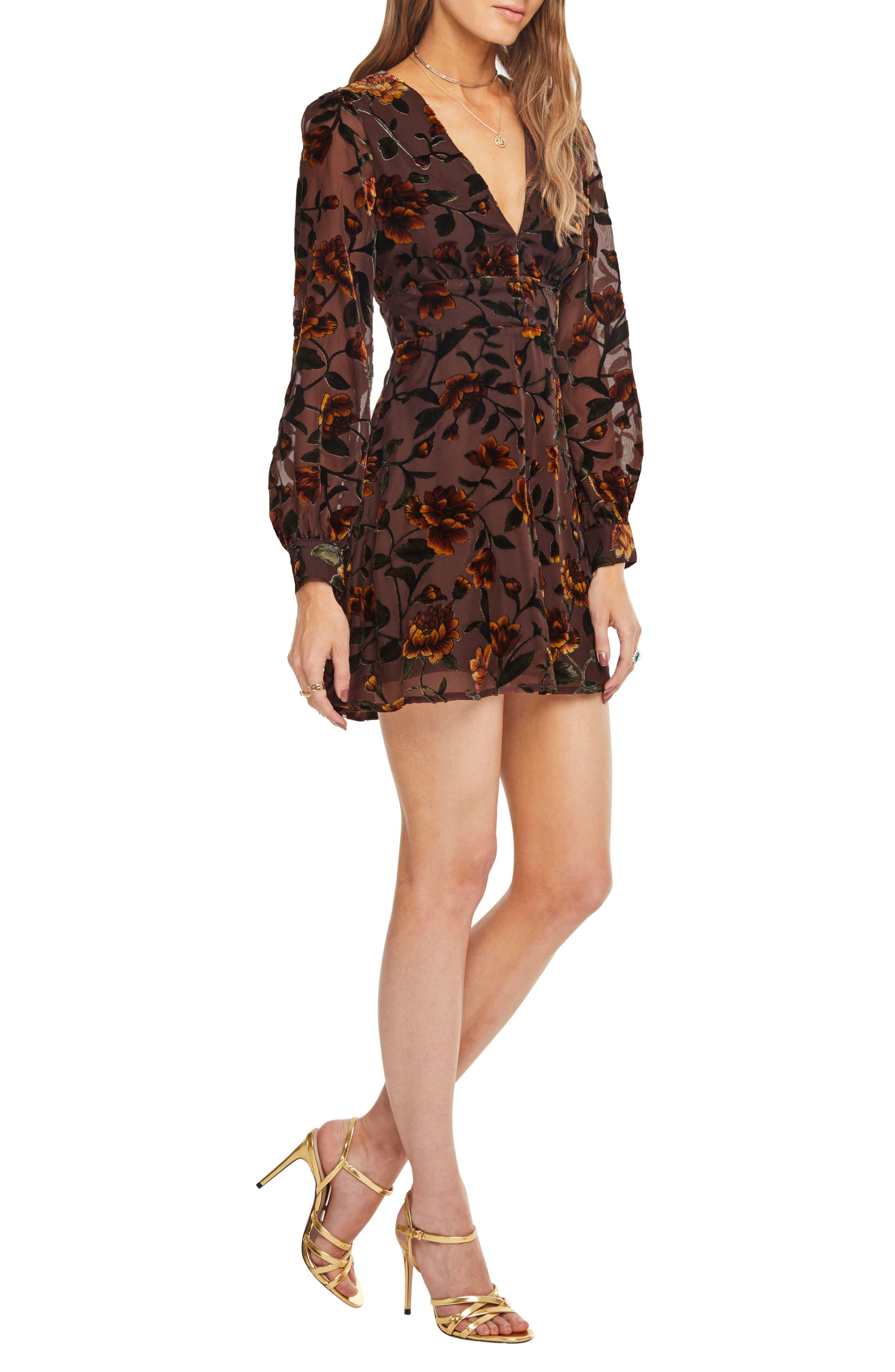 Vivian Floral Burnout Dress,                             Alternate thumbnail 3, color,                             200