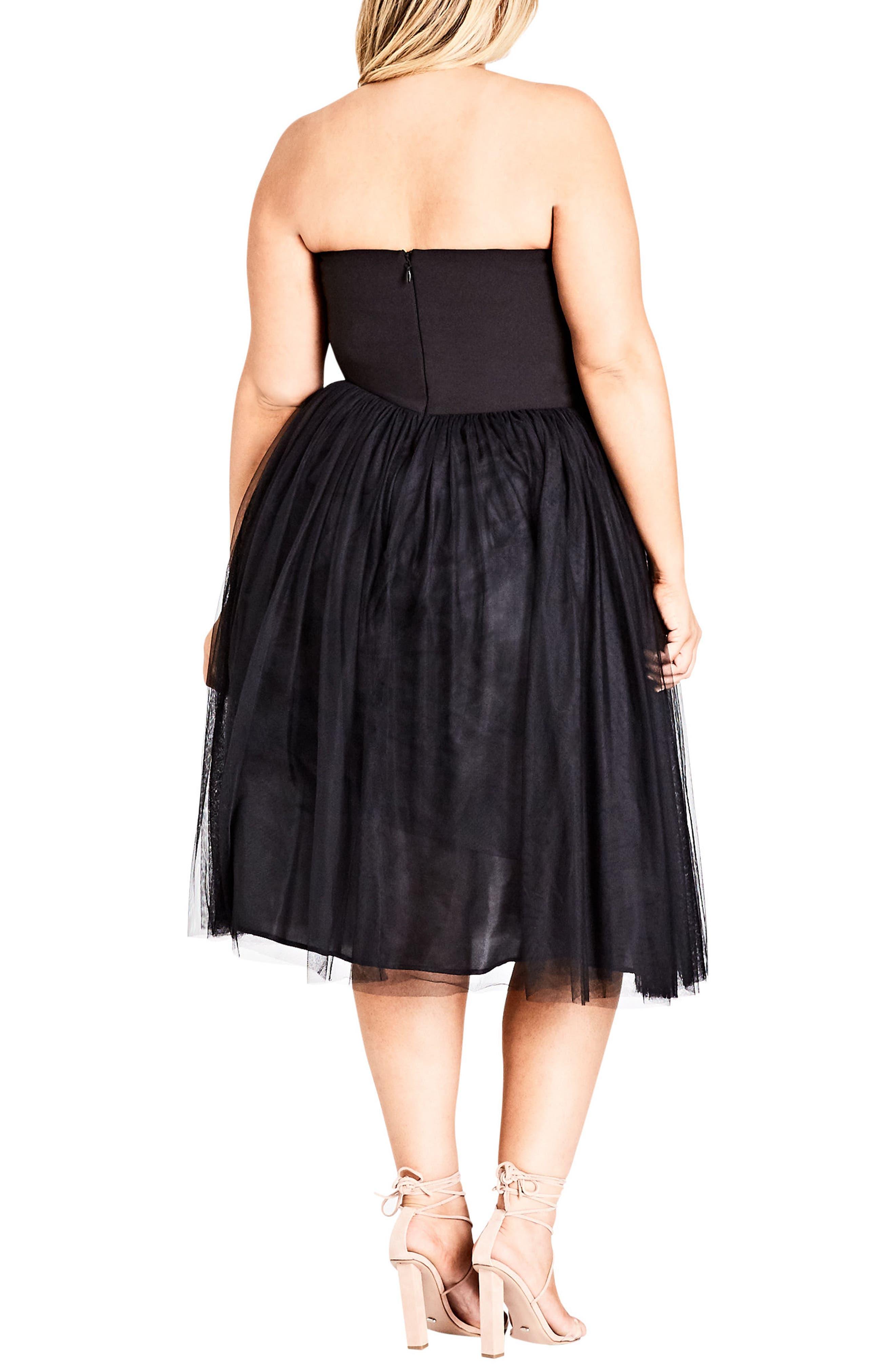 Power Princess Fit & Flare Dress,                             Alternate thumbnail 2, color,                             BLACK