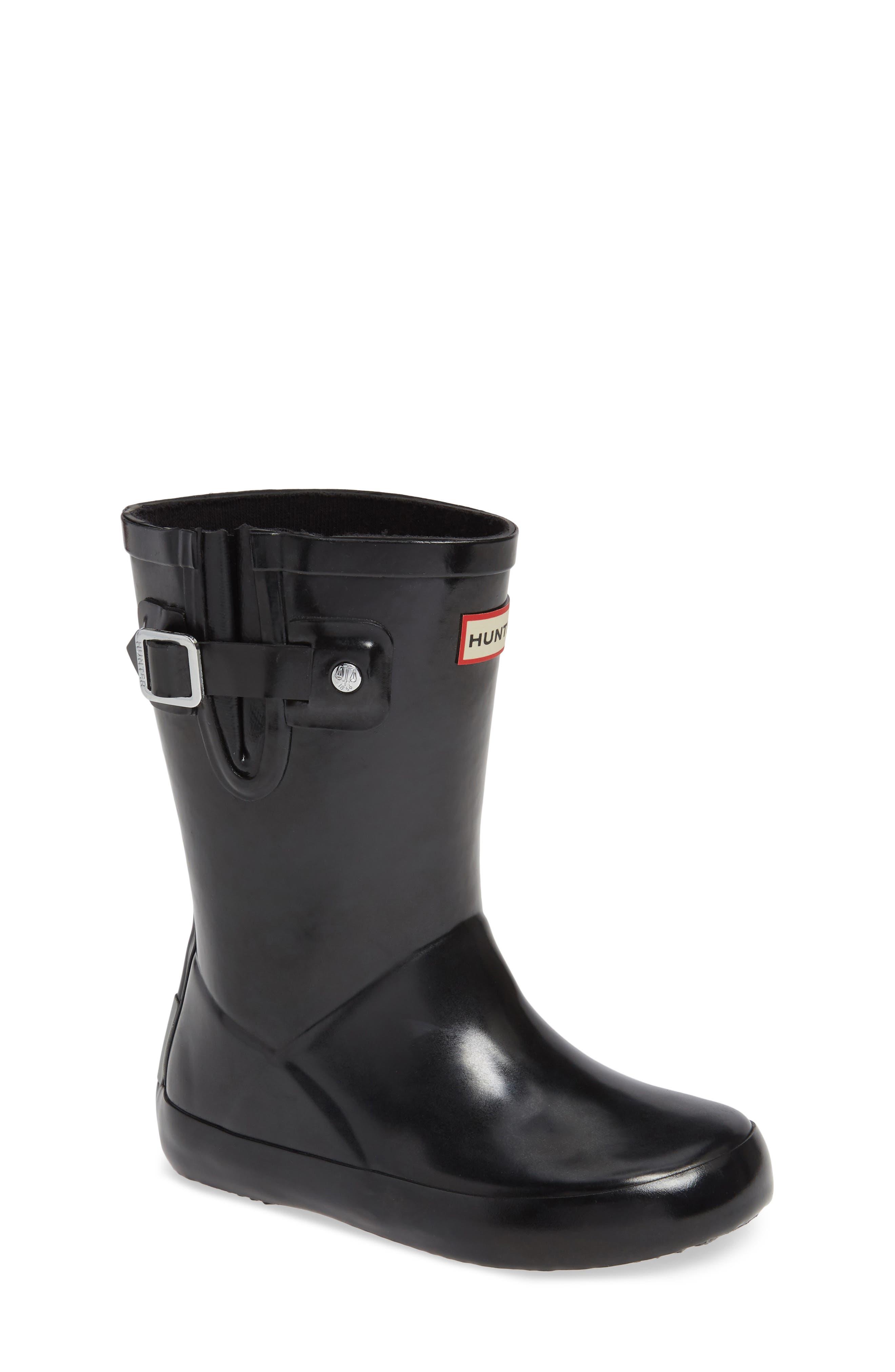 Original Flat Sole Gloss Rain Boot,                         Main,                         color, BLACK