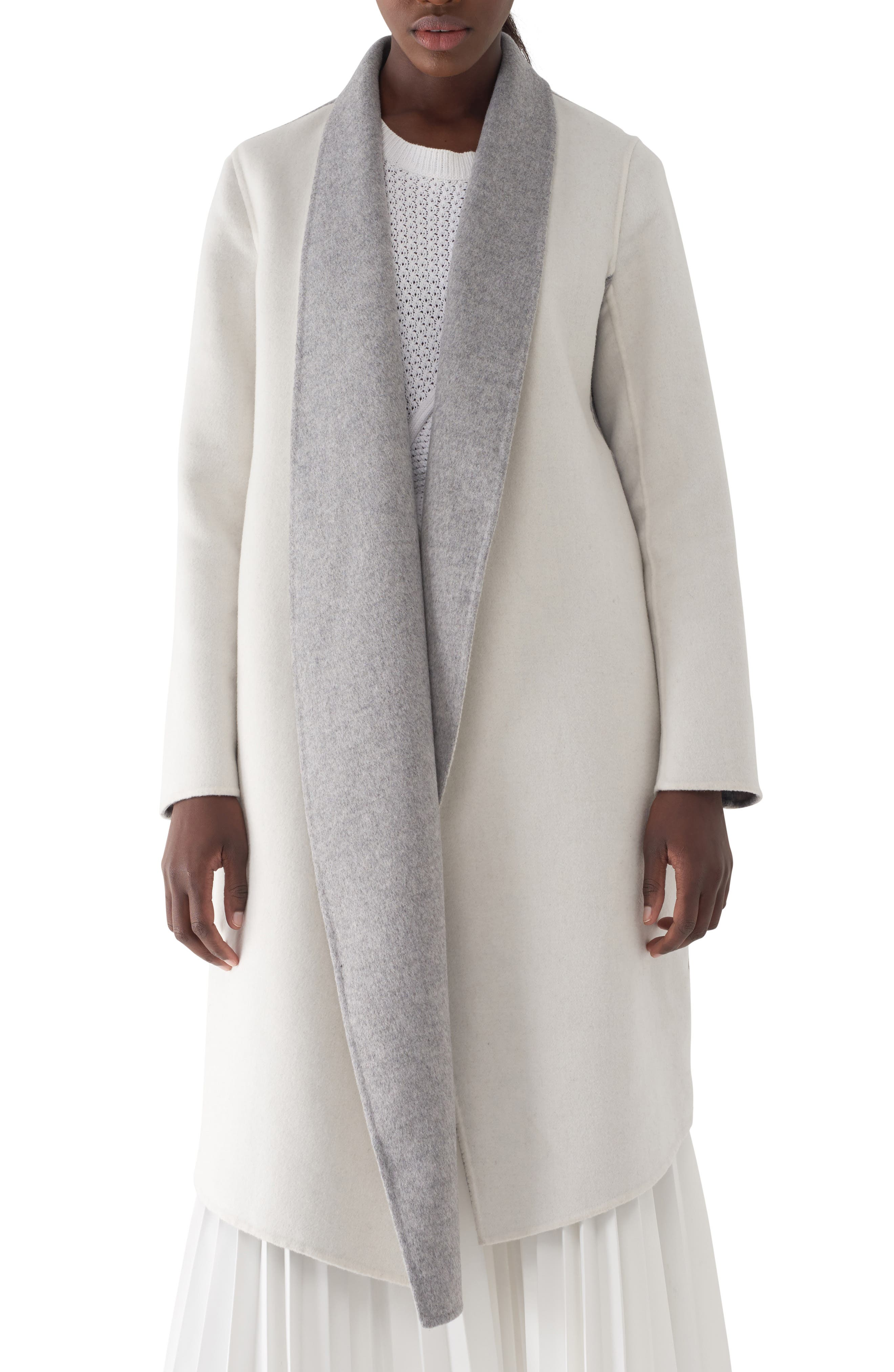 History of 1920s Coats, Furs and Capes Womens Sosken Gloria Colorblock Double Faced Coat Size 4 - White $416.90 AT vintagedancer.com