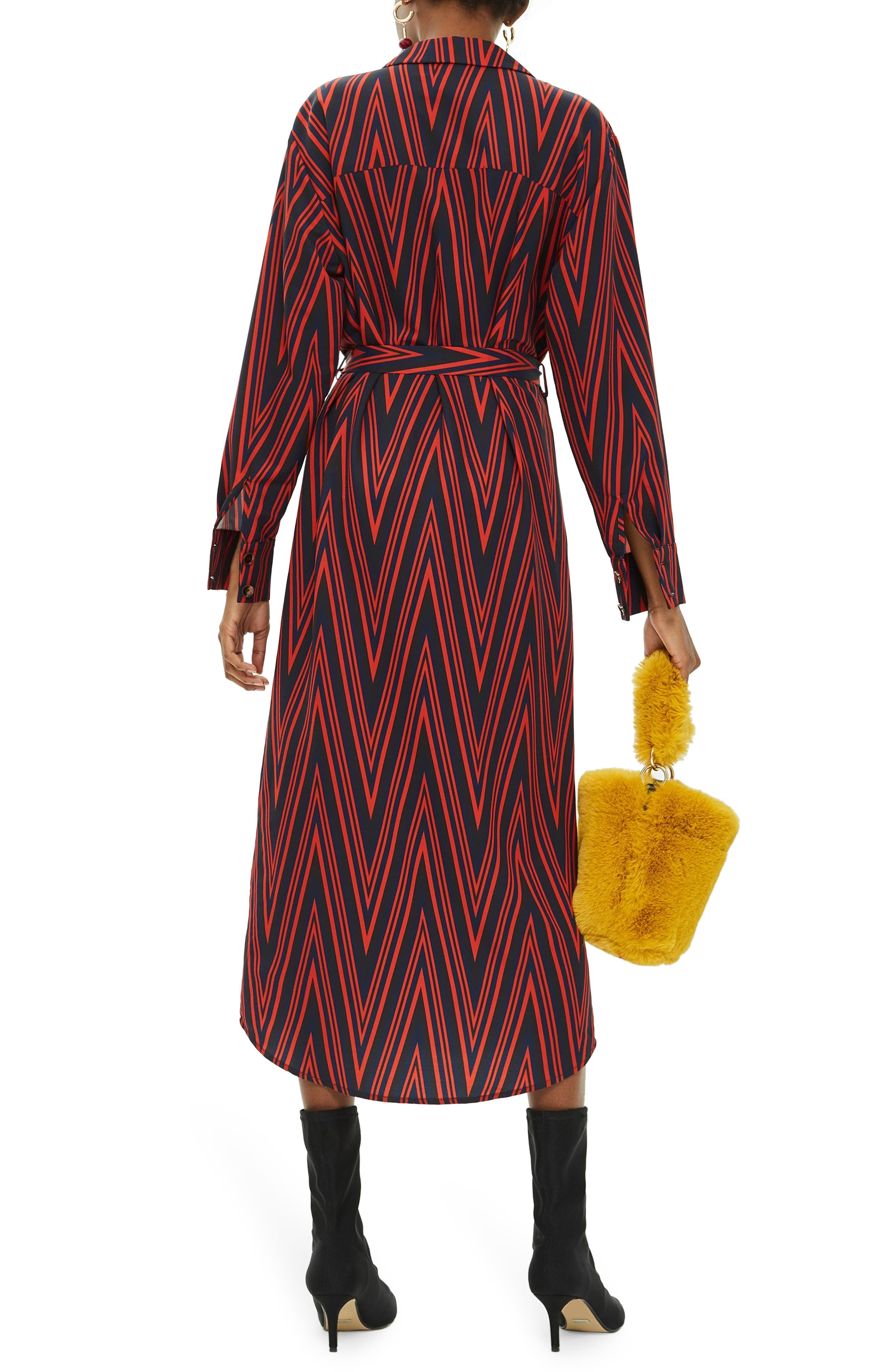 TOPSHOP,                             Horn Button Print Midi Dress,                             Alternate thumbnail 2, color,                             220