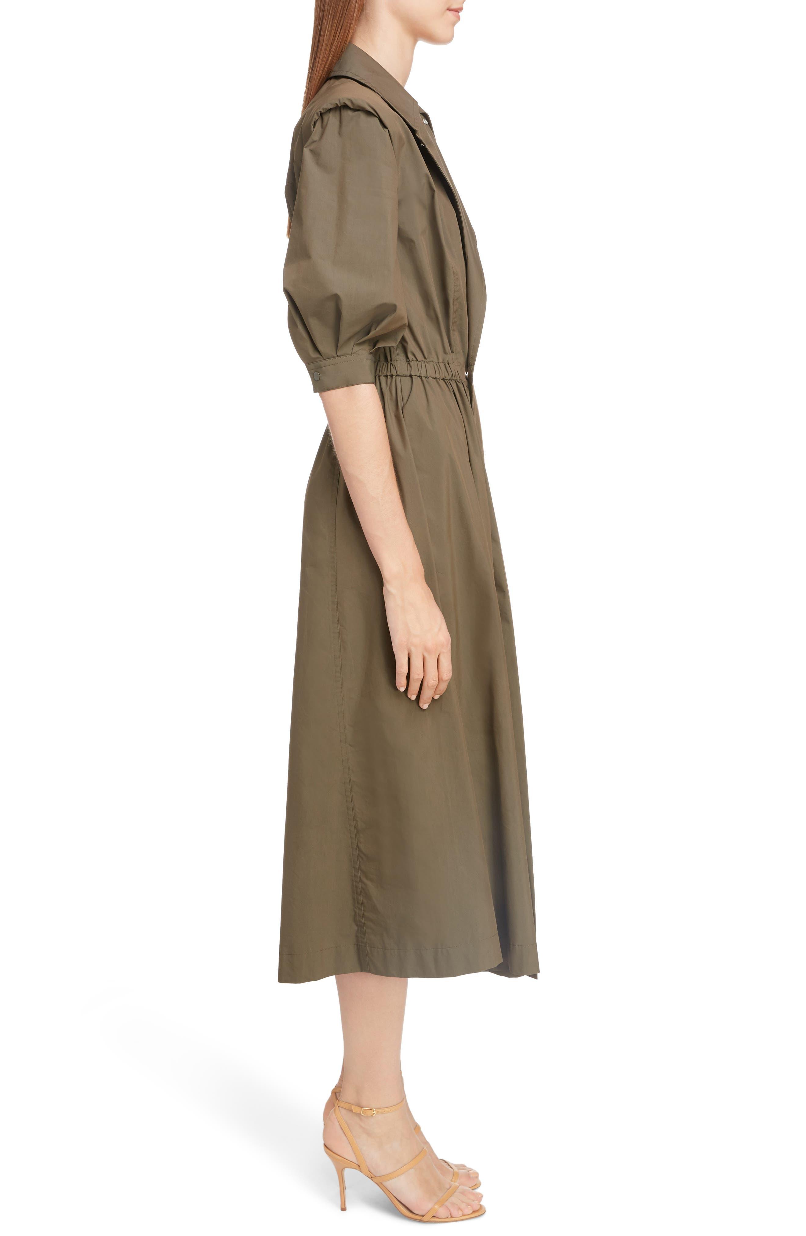 TOGA,                             Trench Taffeta Shirtdress,                             Alternate thumbnail 3, color,                             BROWN