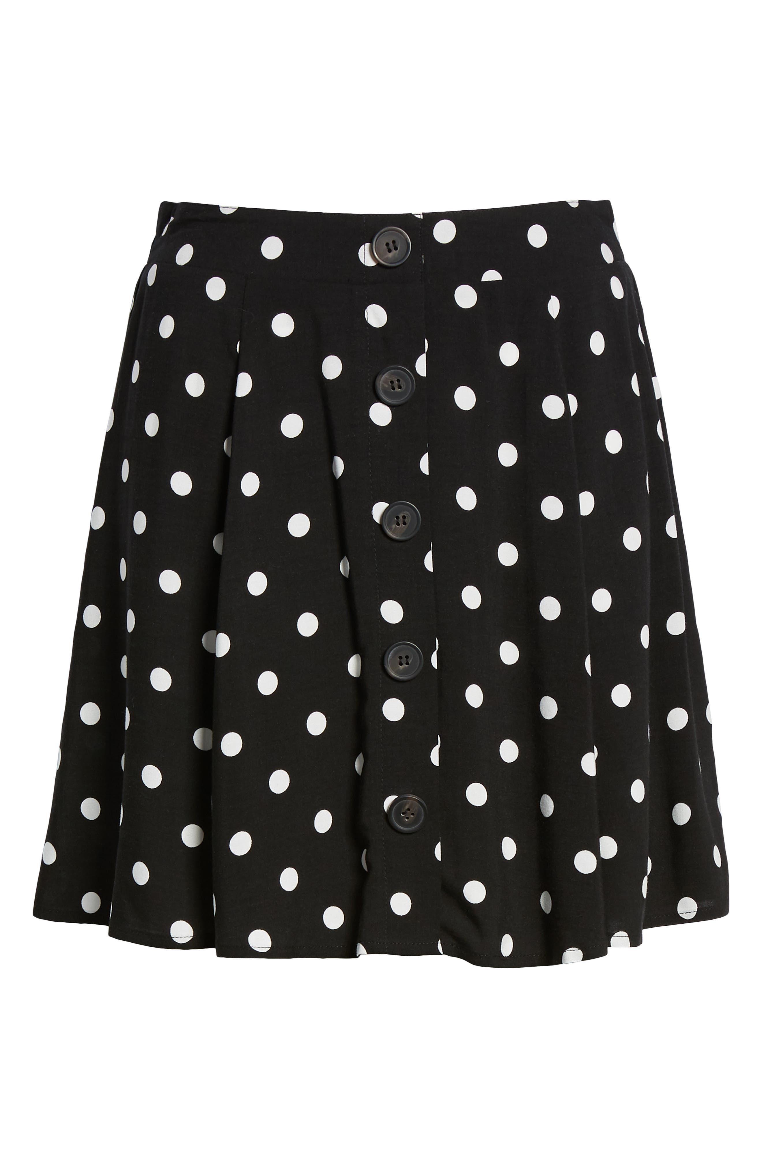 Button Front Skirt,                             Alternate thumbnail 6, color,                             BLACK DOT