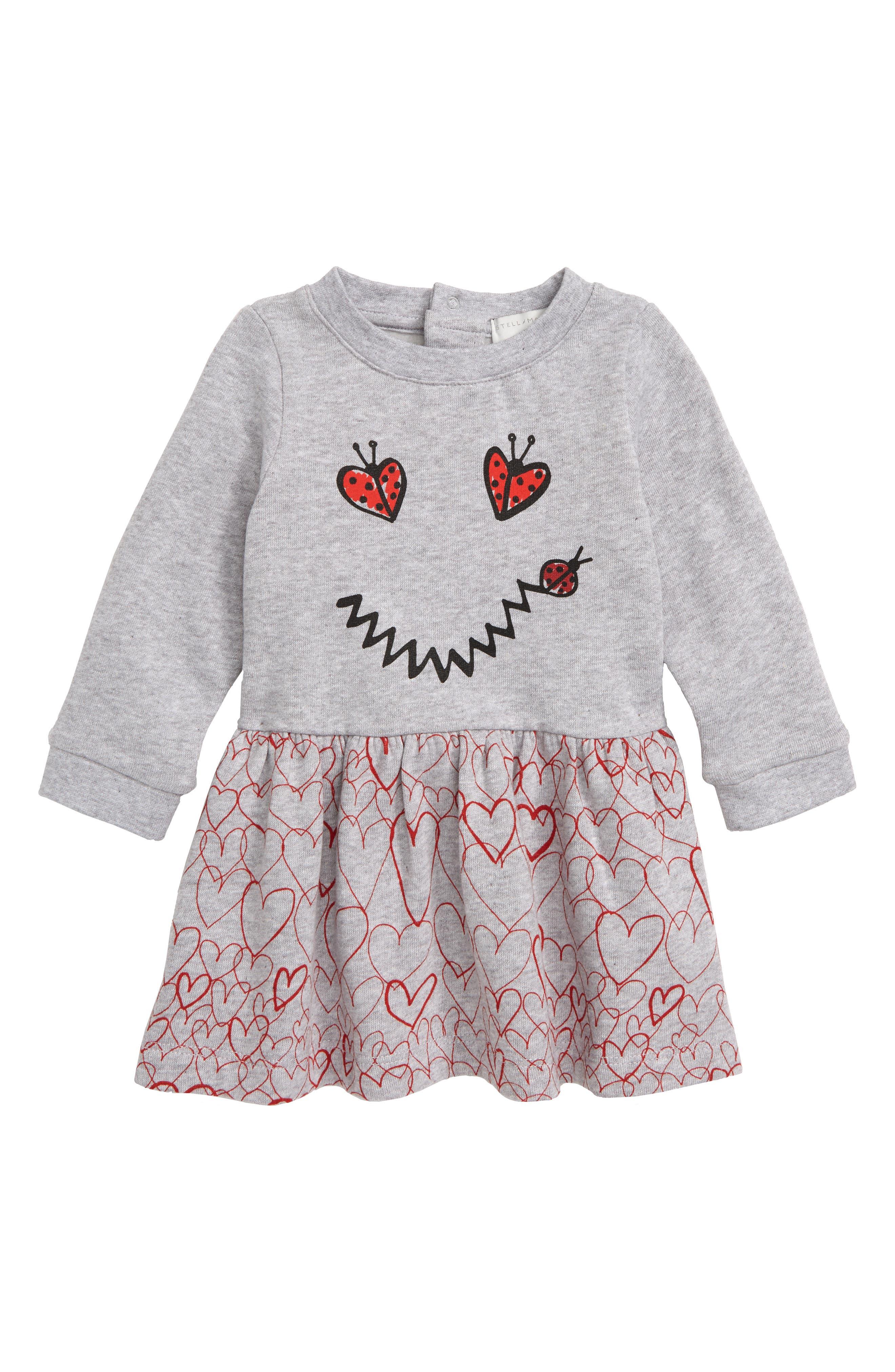 Infant Girls Stella Mccartney Kids Smiley Heart Dress Size 18M  Grey