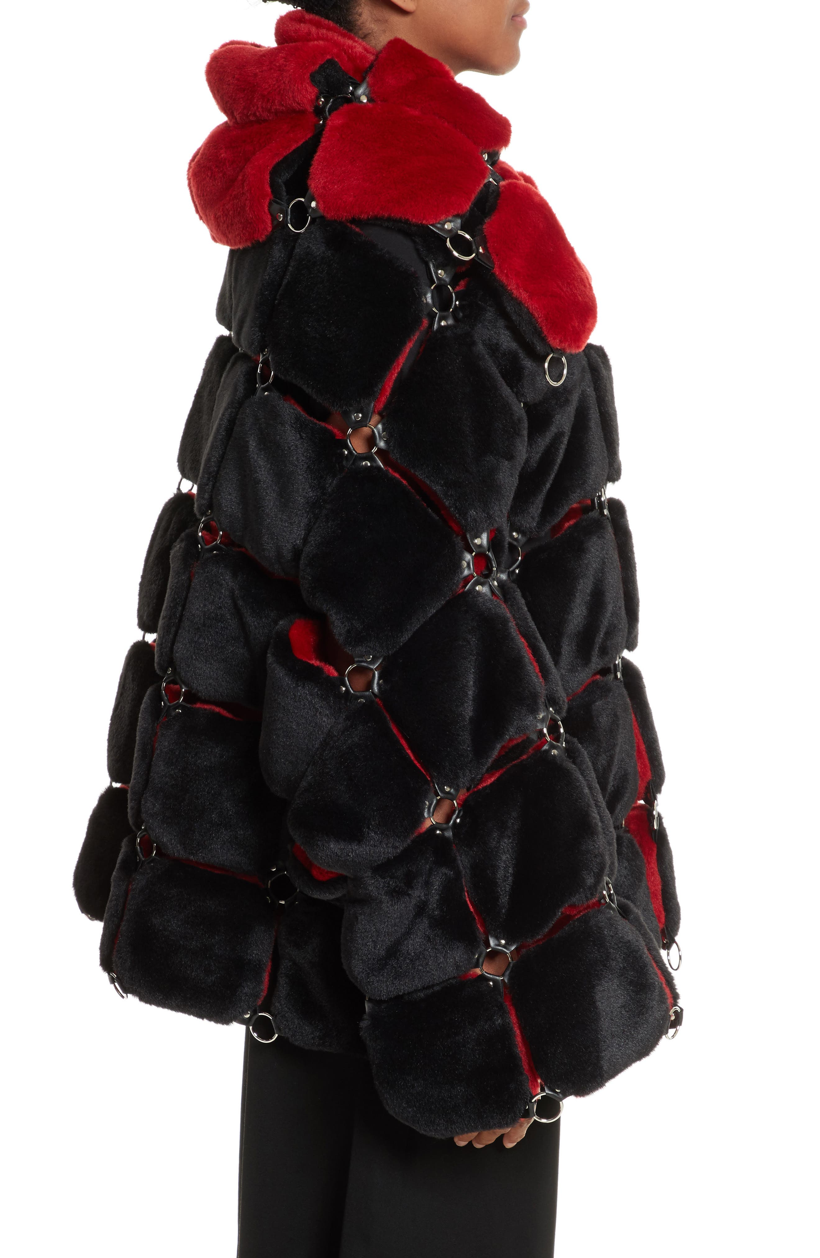 Faux Fur Coat with Chain Mail Detail,                             Alternate thumbnail 3, color,                             005