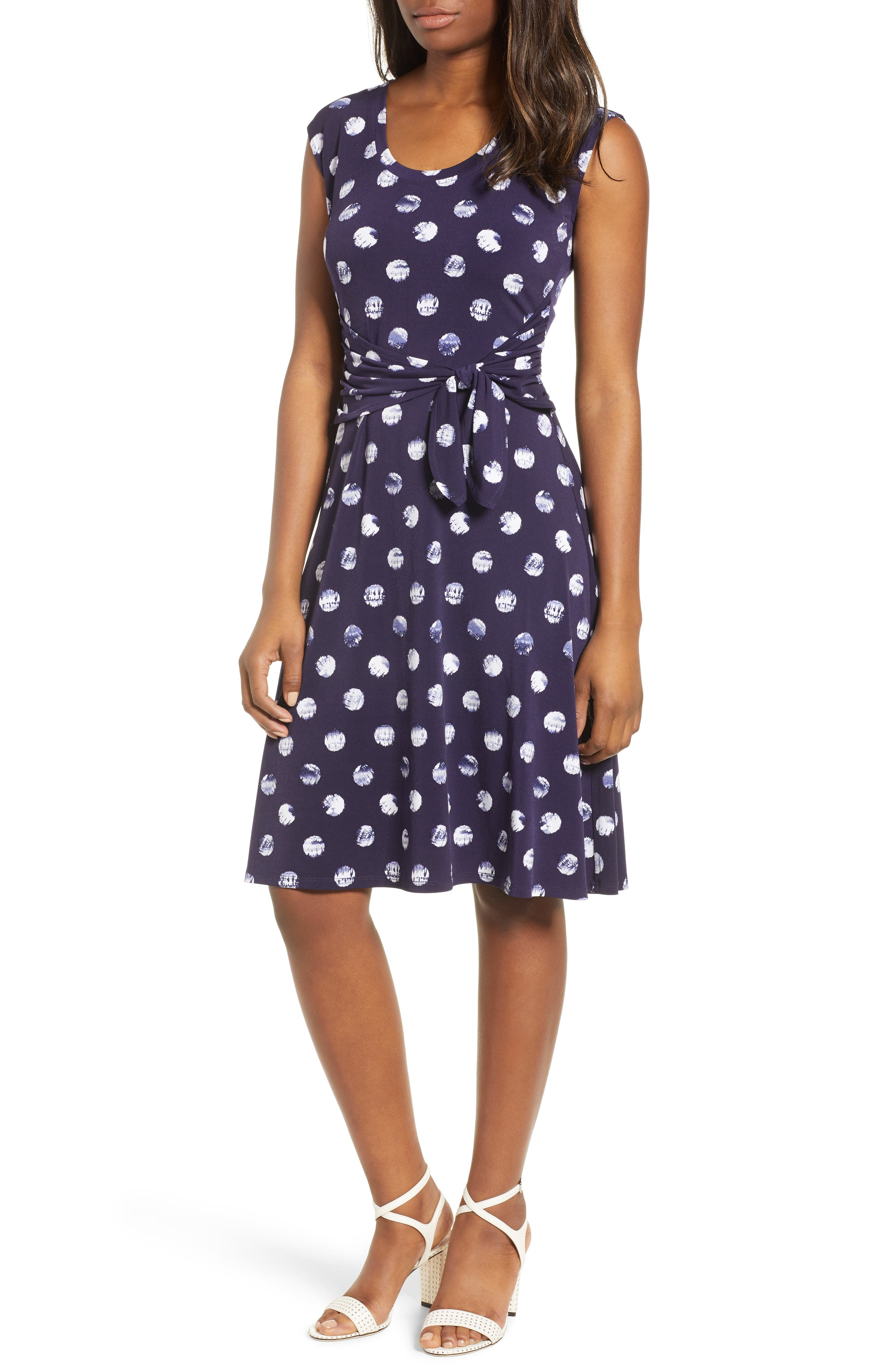 Tie Dye Dot A-Line Dress,                         Main,                         color, EVENING NAVY