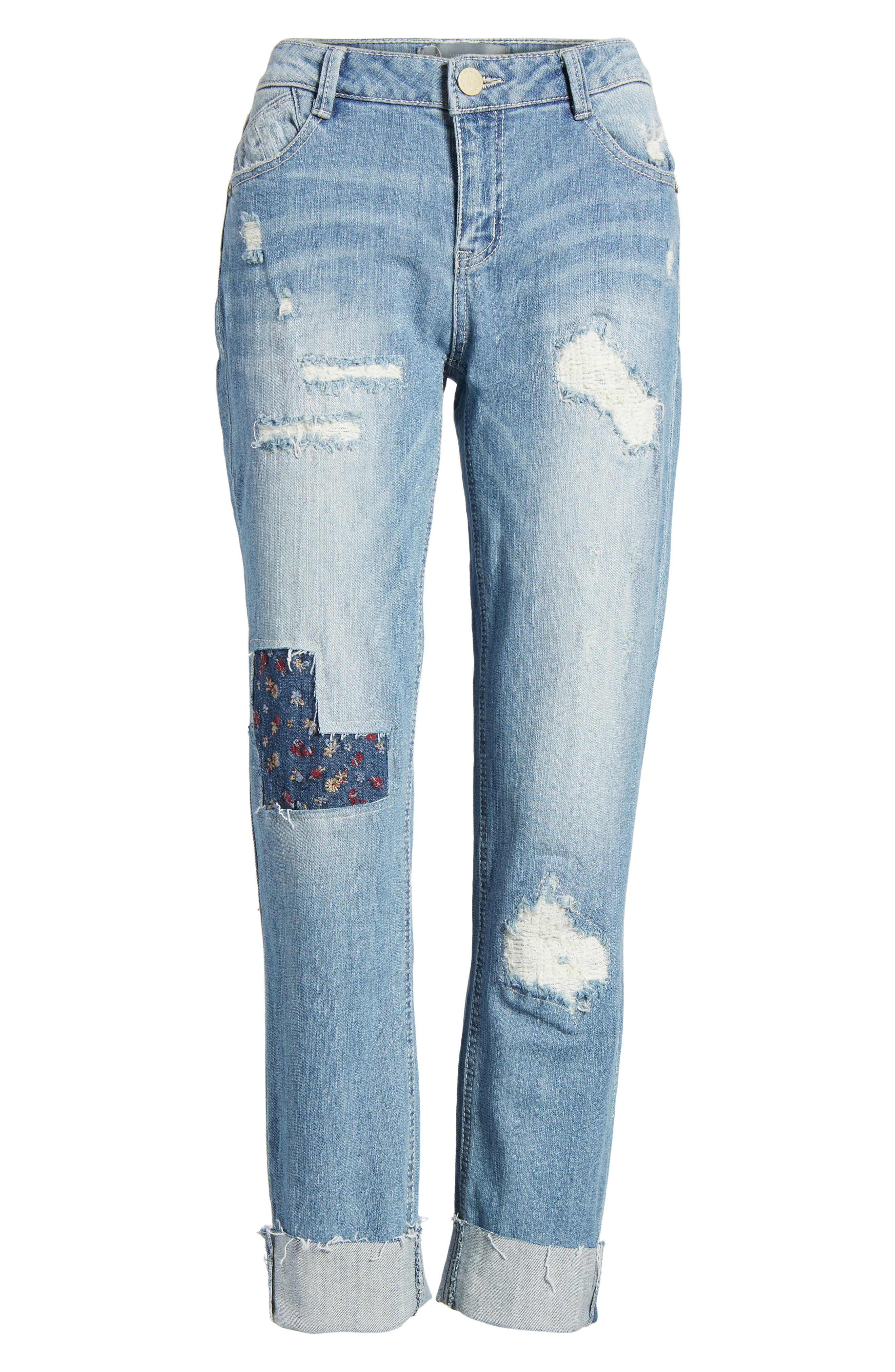 Ripped Girlfriend Jeans,                             Alternate thumbnail 6, color,