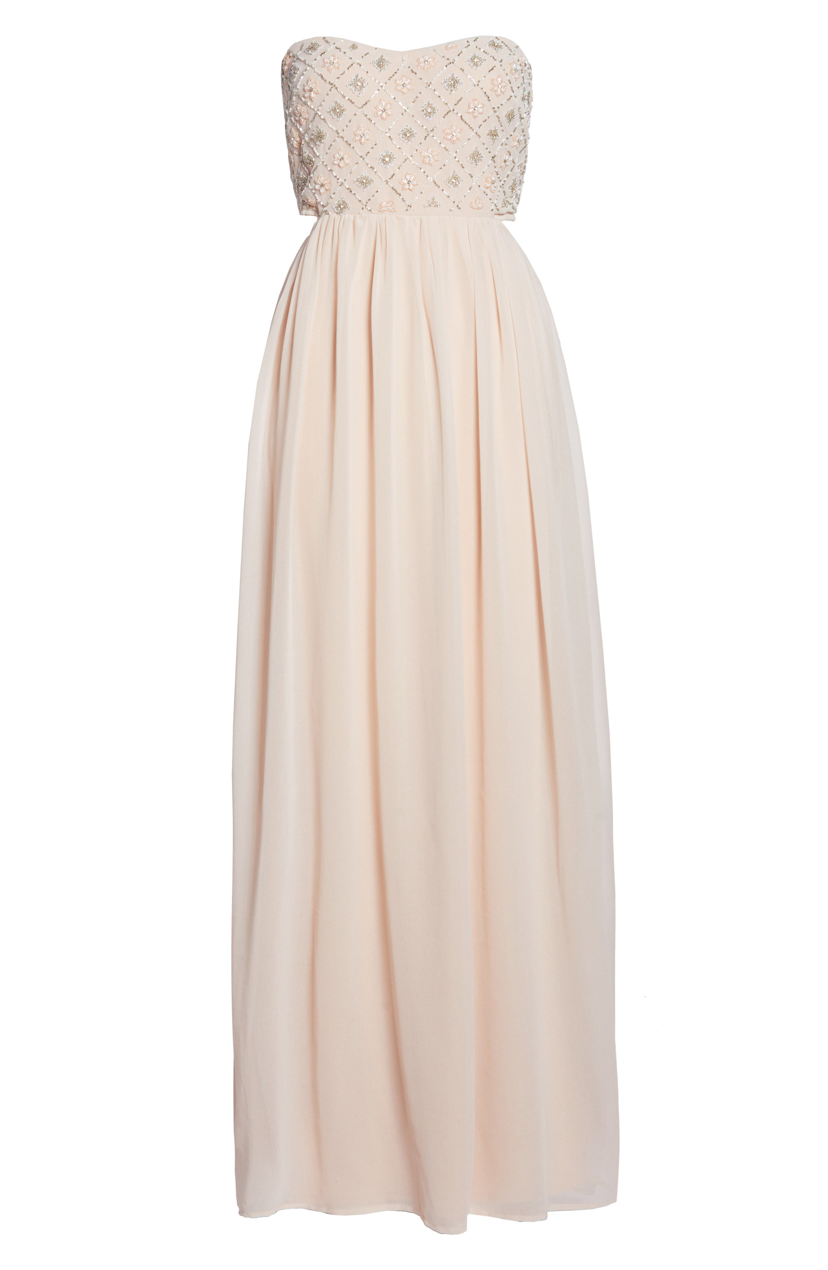 Beaded Bodice Gown,                             Alternate thumbnail 6, color,                             NUDE