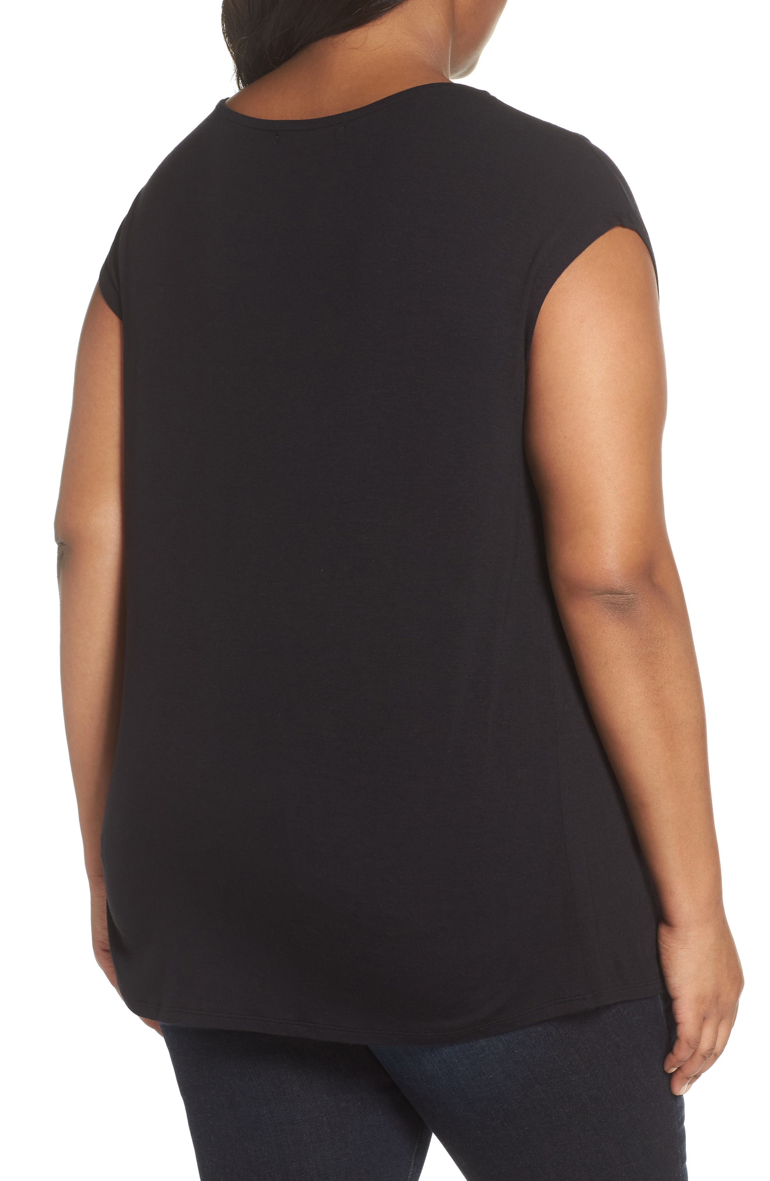 Twisted Neck Cap Sleeve Top,                             Alternate thumbnail 2, color,                             BLACK
