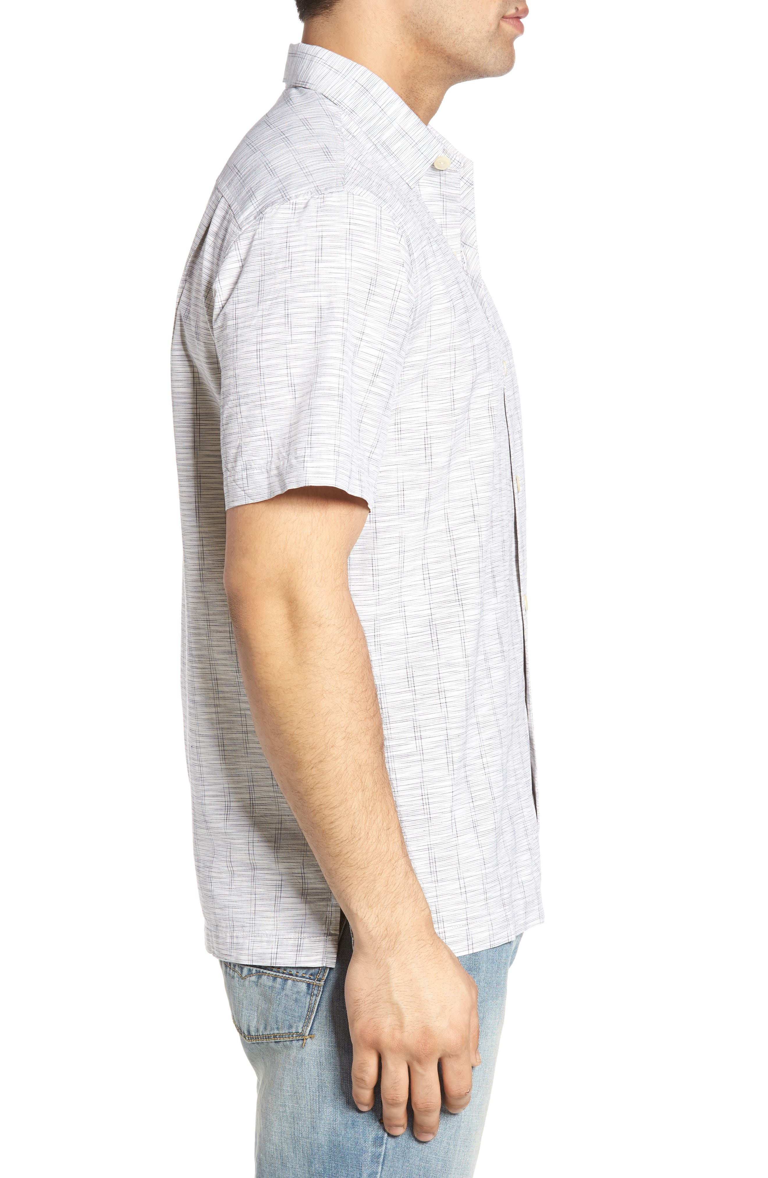 Seismic Stripe Silk Sport Shirt,                             Alternate thumbnail 3, color,                             100