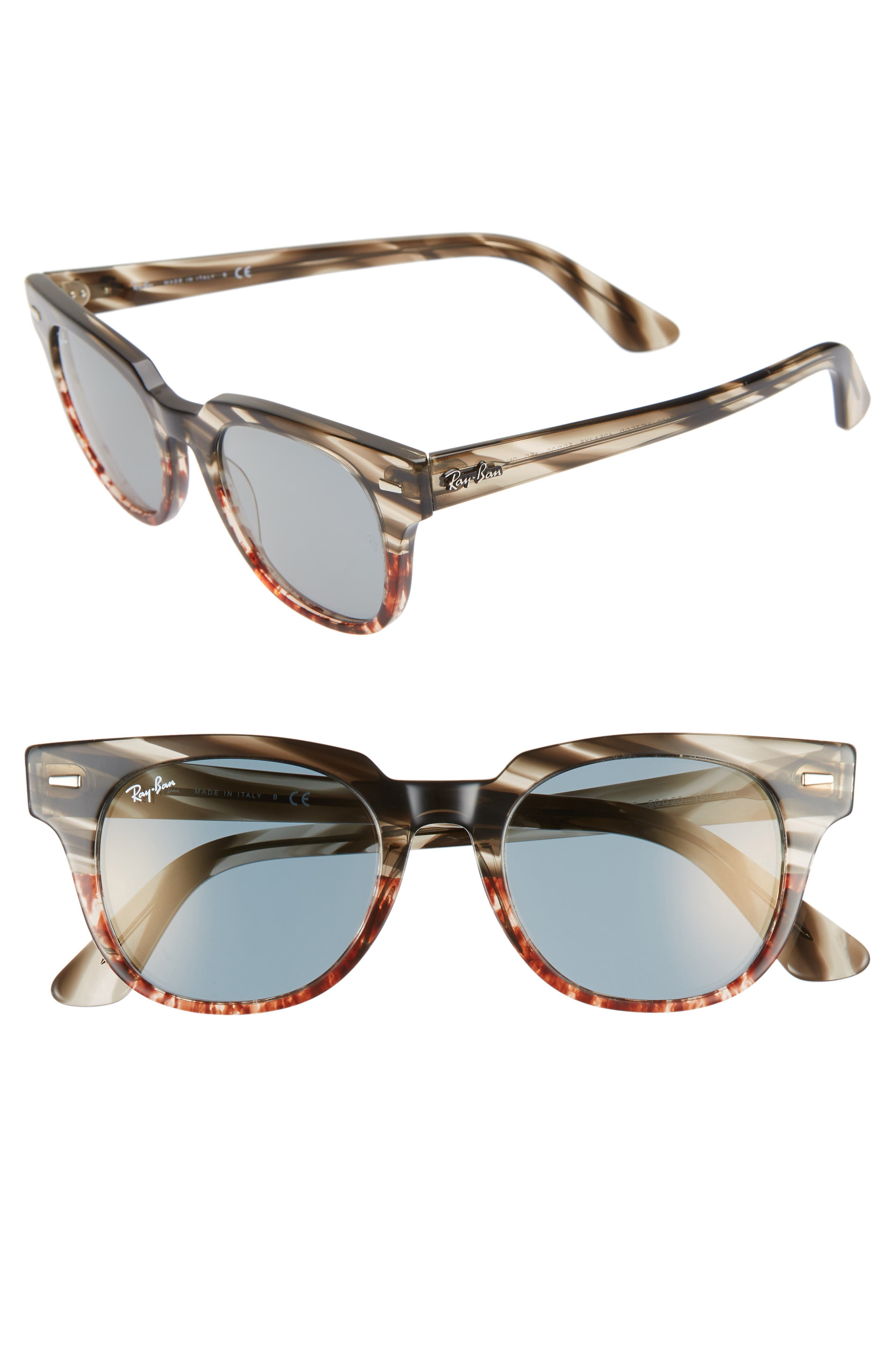 Meteor 50mm Mirrored Wayfarer Sunglasses,                             Main thumbnail 1, color,                             GOLD BLUE MIRROR