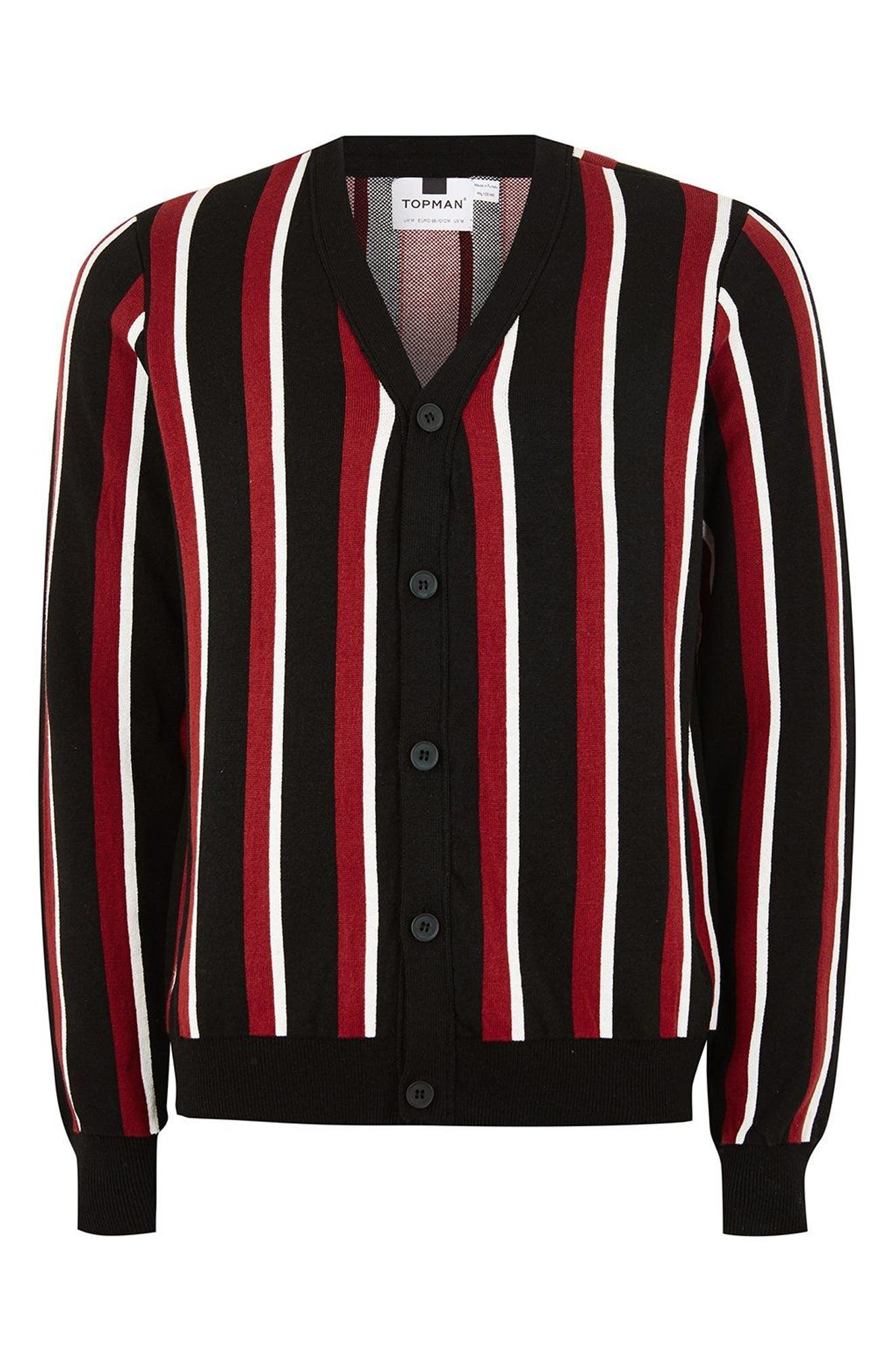 Slim Fit Stripe Cardigan,                             Alternate thumbnail 4, color,                             001