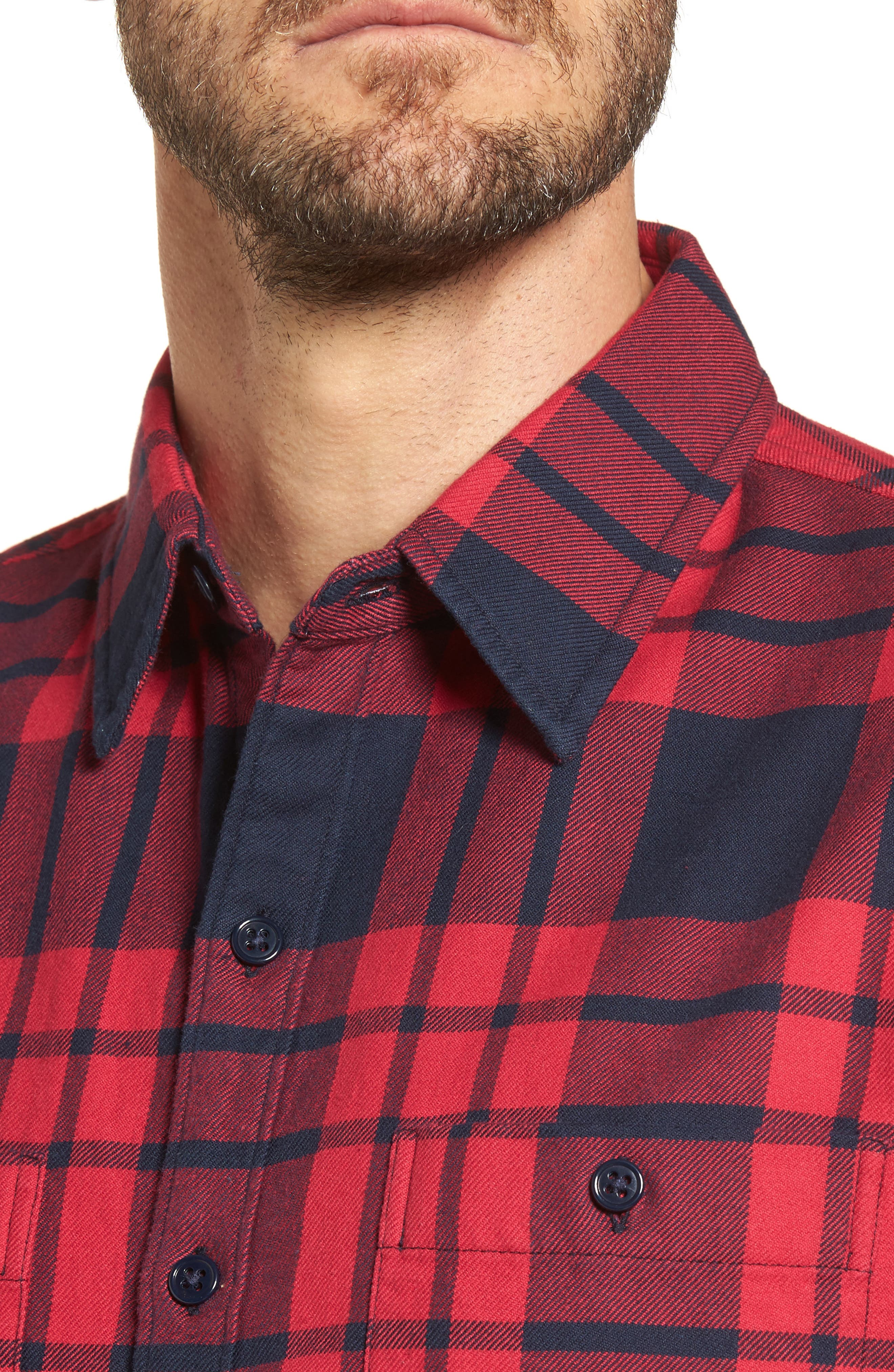 Slim Fit Plaid Flannel Shirt,                             Alternate thumbnail 4, color,