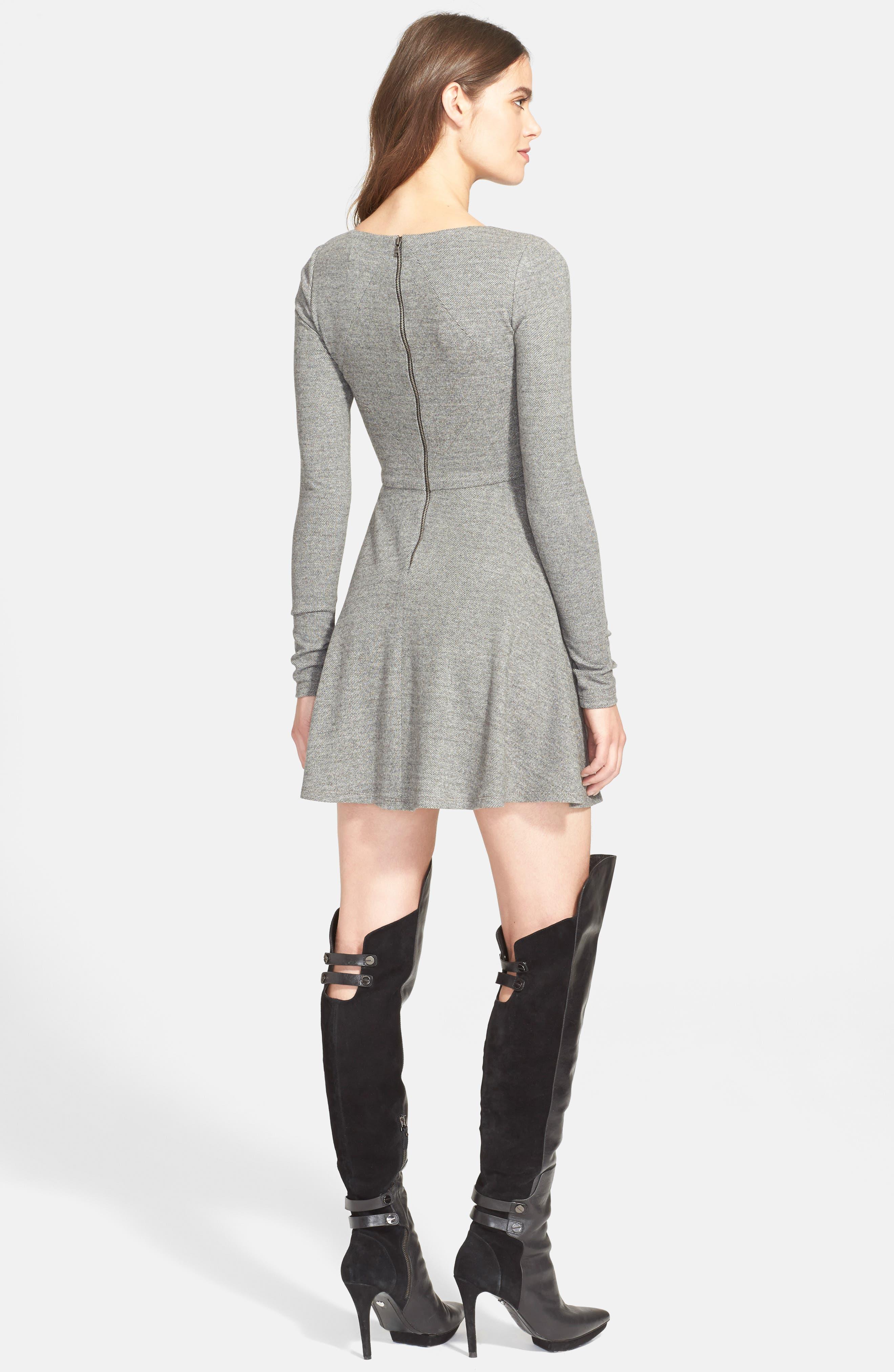 'Brinley' Long Sleeve Mini Dress,                             Alternate thumbnail 2, color,                             GREY