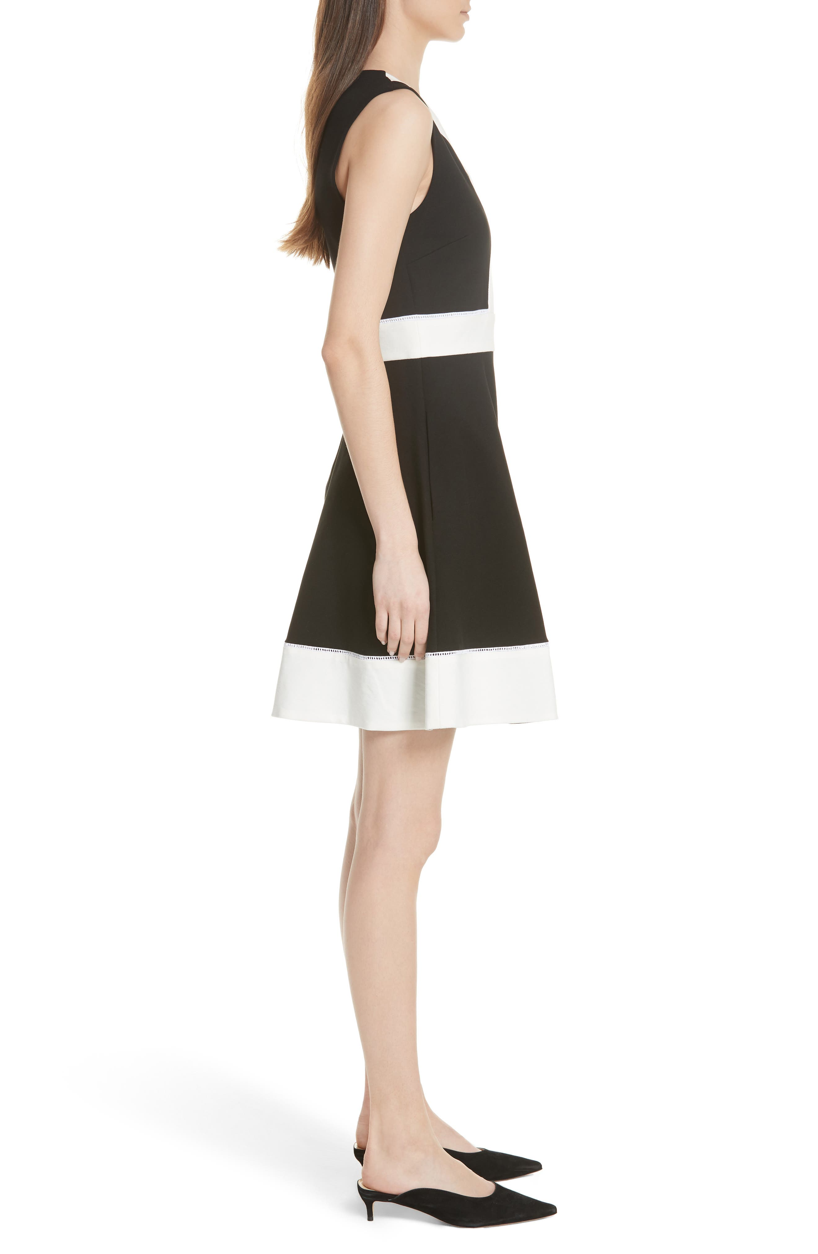 colorblock ponte a-line dress,                             Alternate thumbnail 3, color,                             001