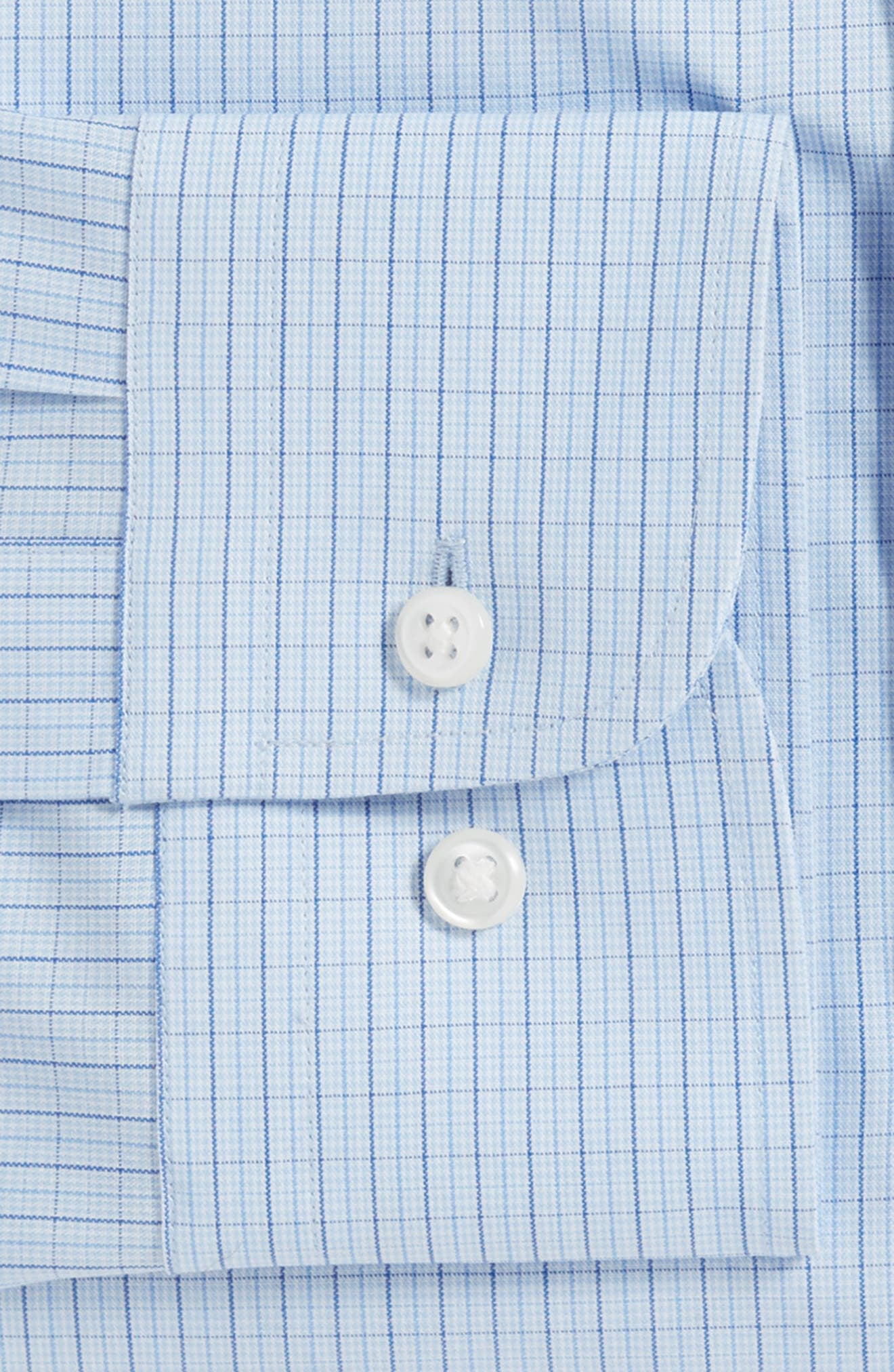 Tech-Smart Trim Fit Stretch Check Dress Shirt,                             Alternate thumbnail 4, color,