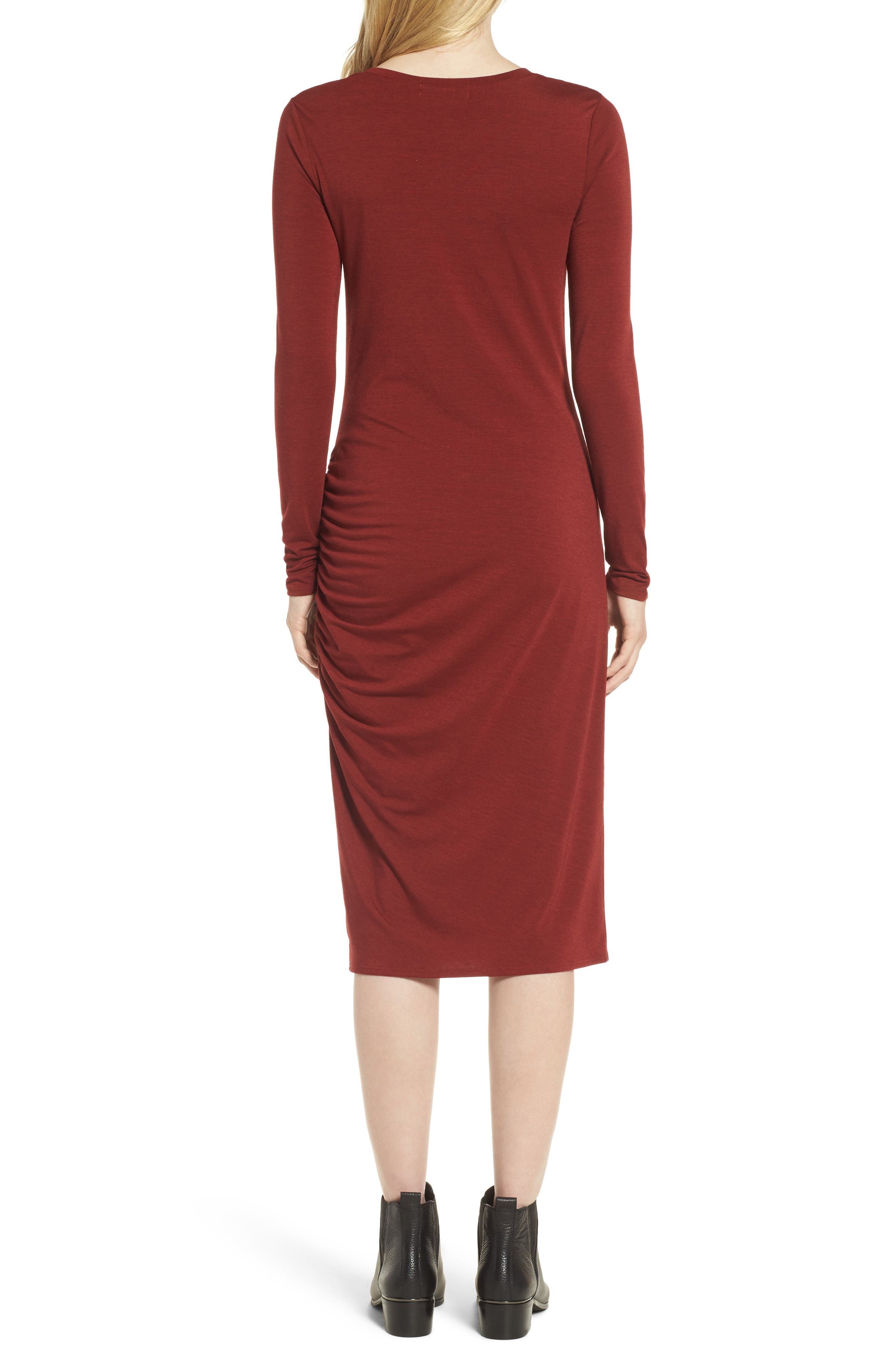 Side Ruched Knit Sheath Dress,                             Alternate thumbnail 4, color,