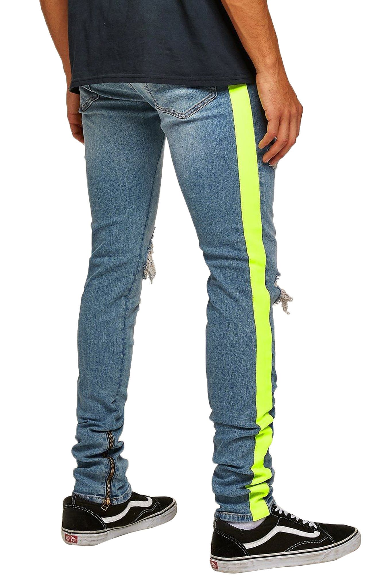 Side Tape Stretch Skinny Fit Jeans,                             Alternate thumbnail 2, color,                             BLUE MULTI