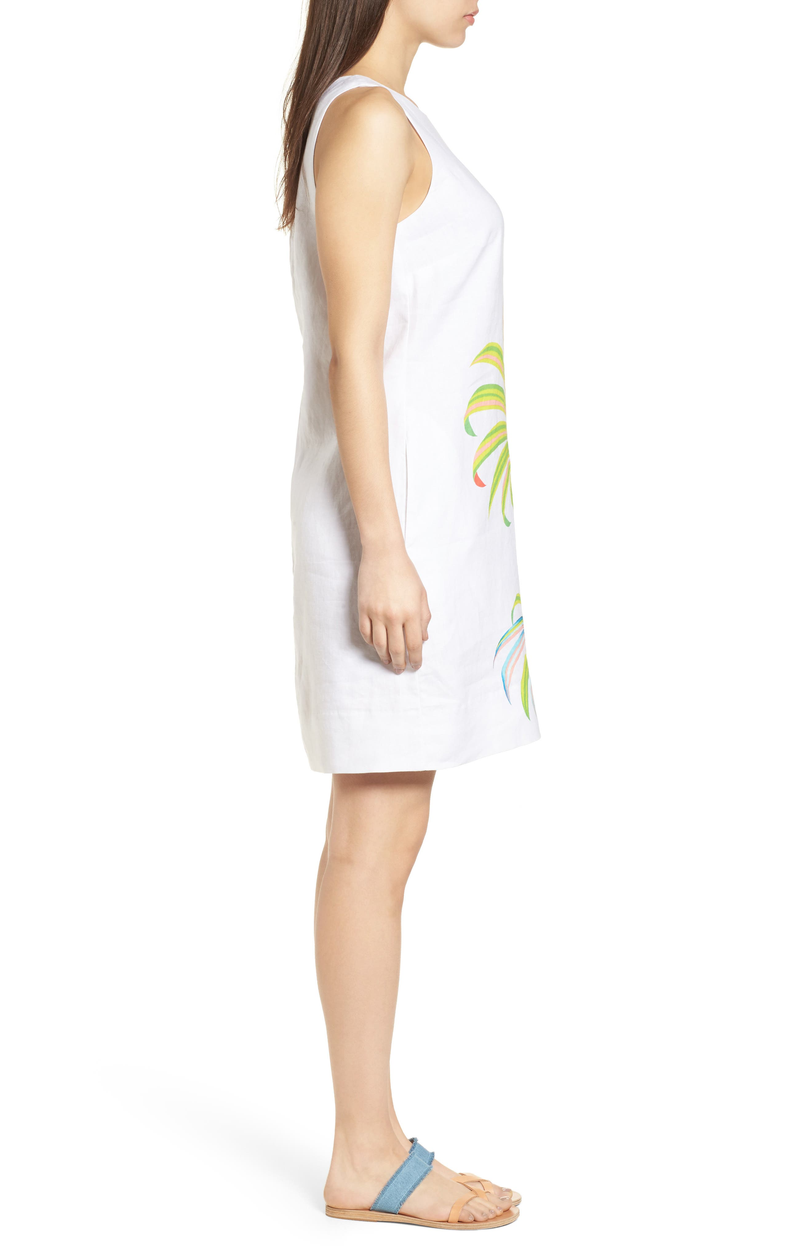 Cricue de Palm Shift Dress,                             Alternate thumbnail 3, color,                             WHITE