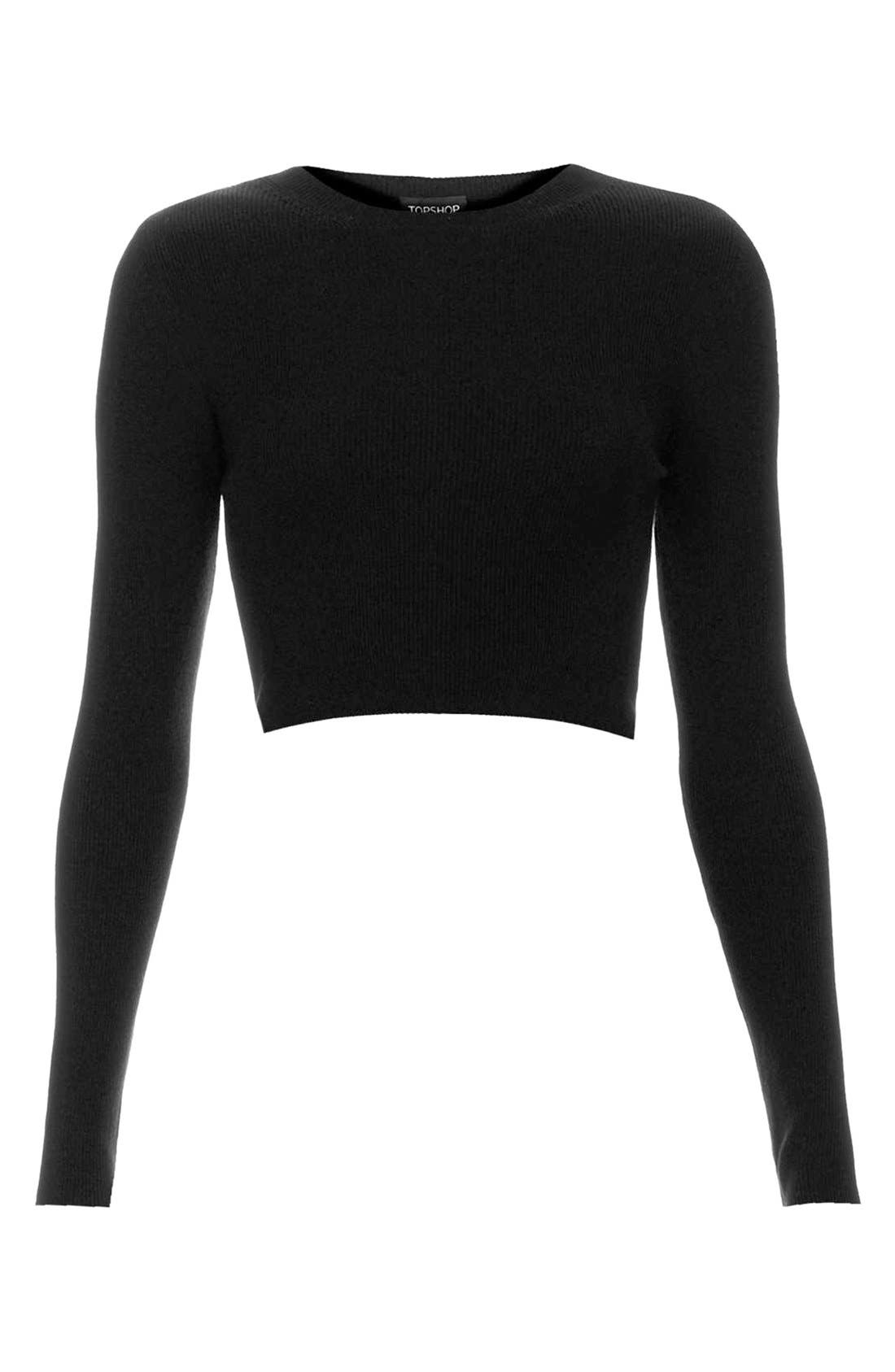 Ribbed Crop Sweater,                             Alternate thumbnail 4, color,                             001