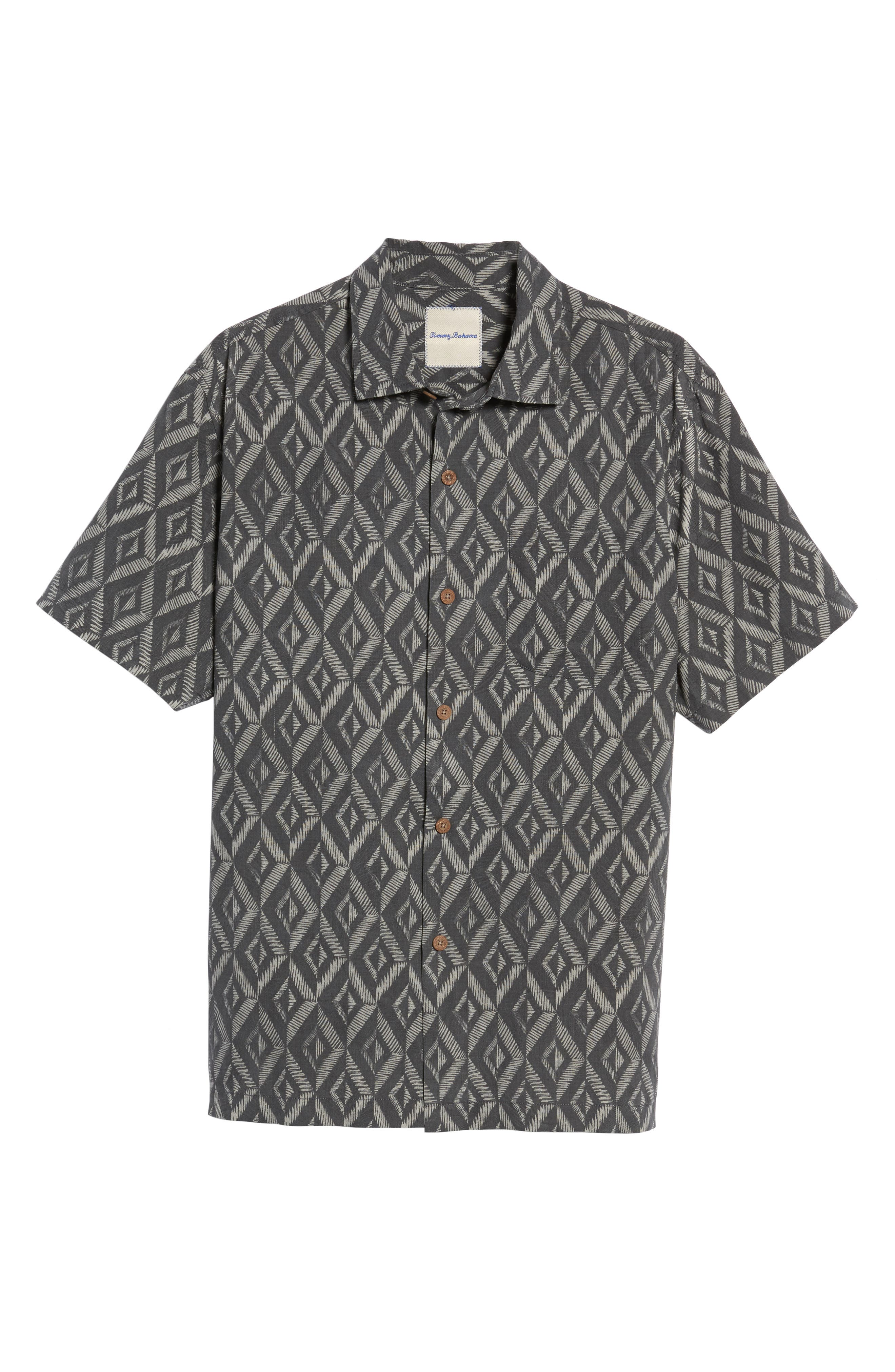 Diamond Tiles Standard Fit Silk Blend Camp Shirt,                             Alternate thumbnail 6, color,