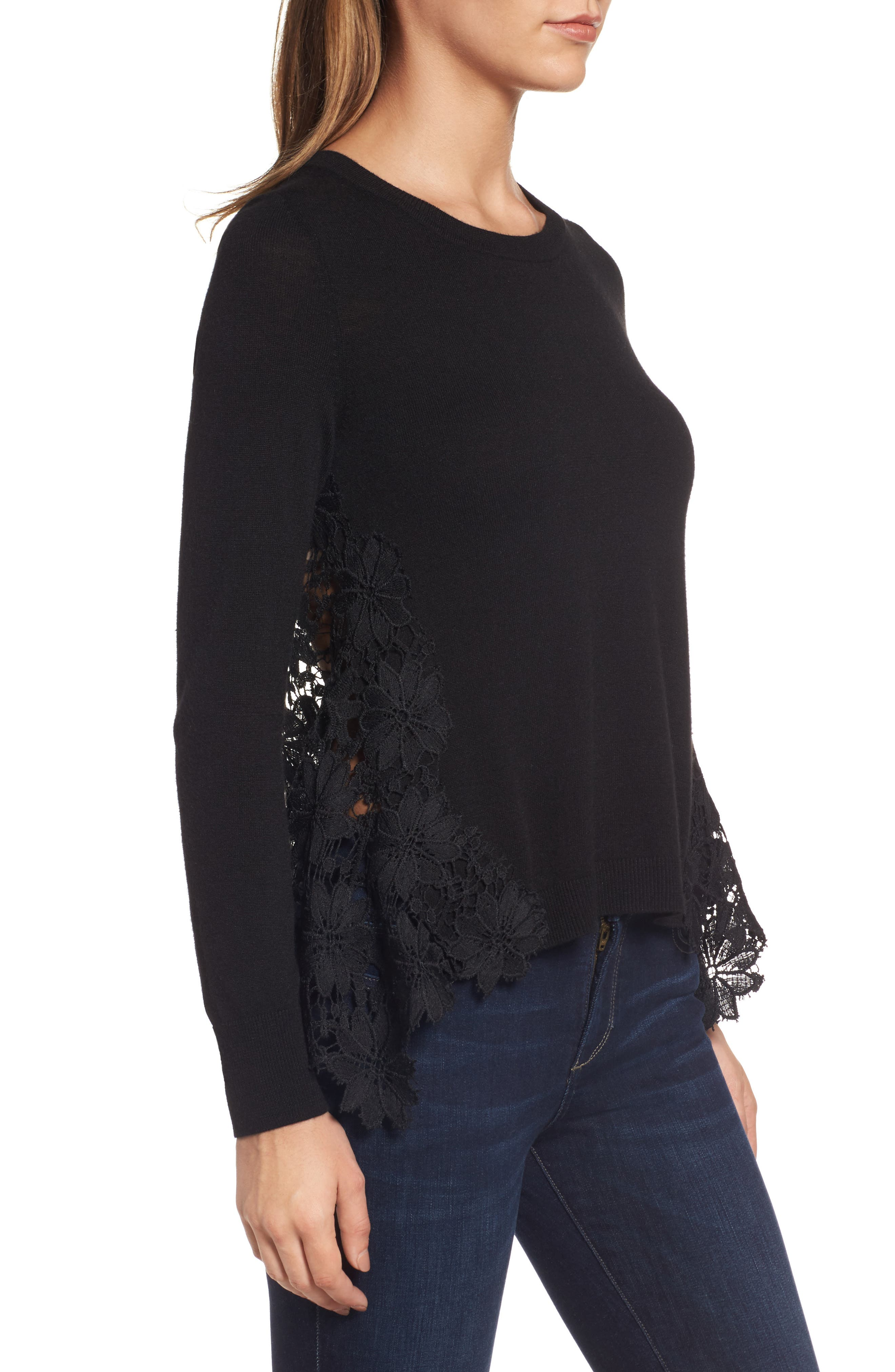 Lace Back Sweater,                             Alternate thumbnail 4, color,                             001