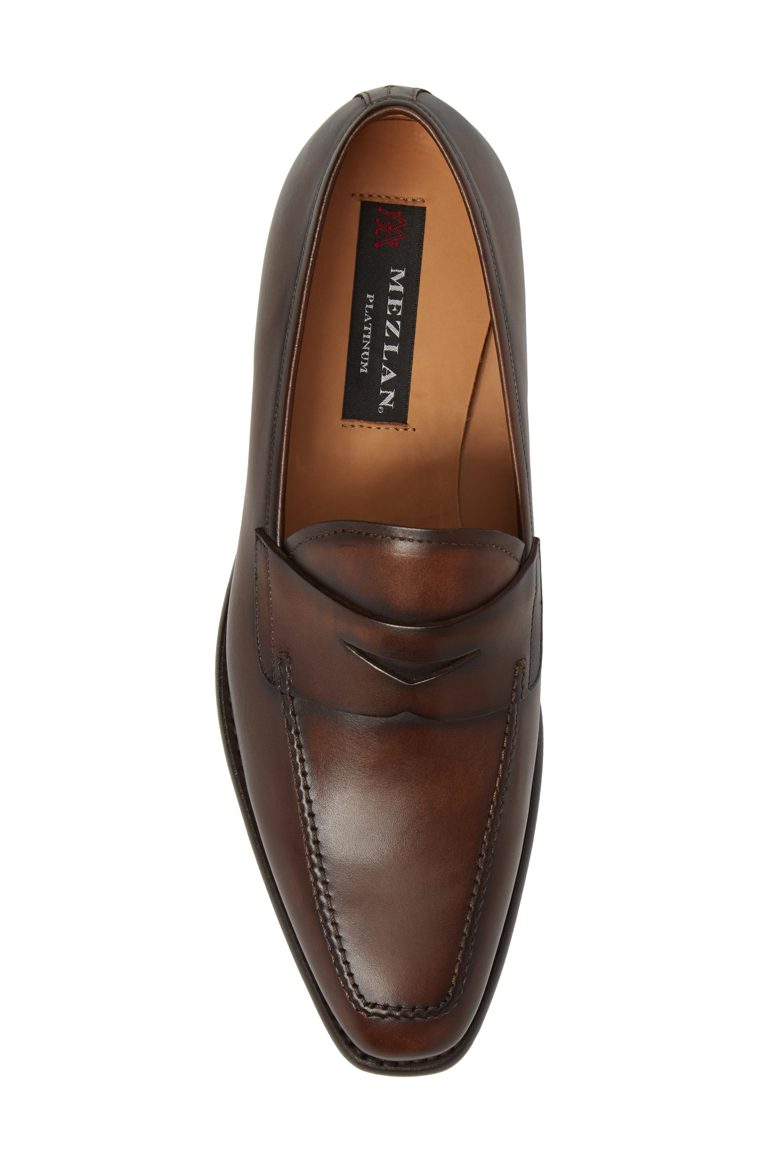 Claude Penny Loafer,                             Alternate thumbnail 5, color,                             BROWN LEATHER