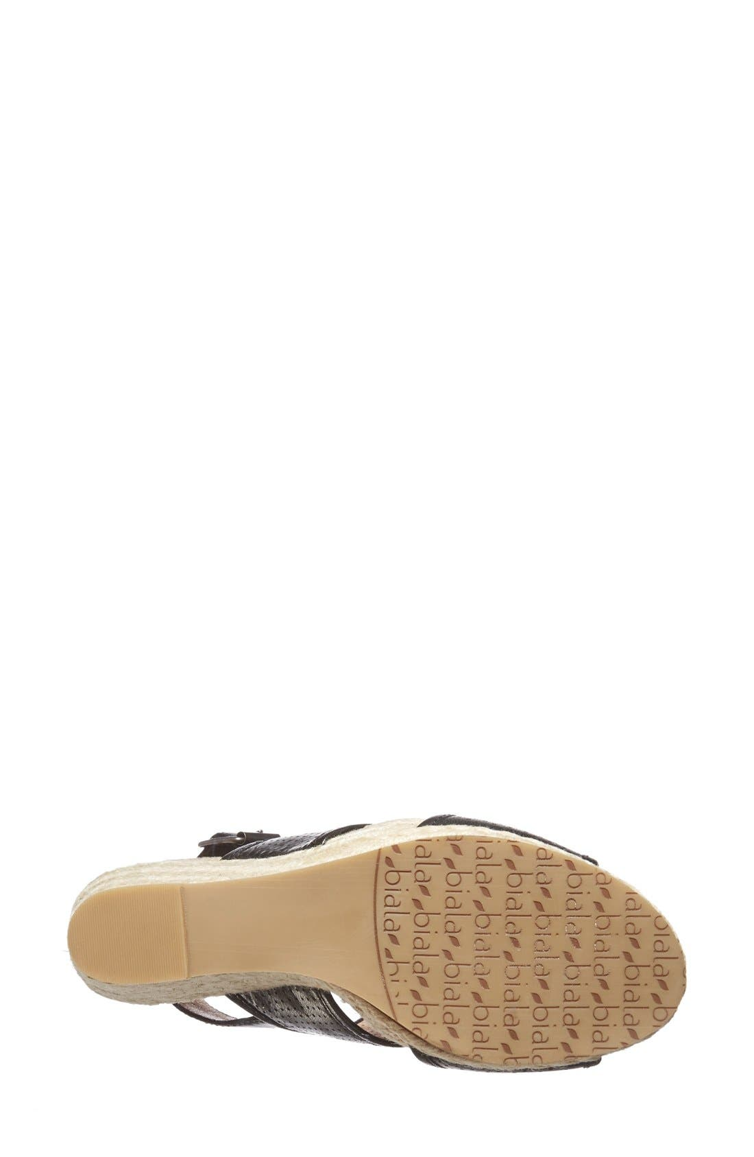 'Joyce' Perforated Espadrille Wedge Sandal,                             Alternate thumbnail 4, color,                             001