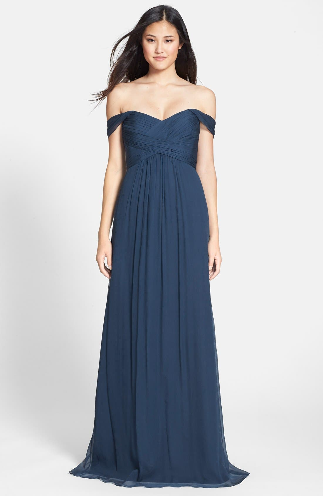 Convertible Crinkled Silk Chiffon Gown,                             Main thumbnail 2, color,