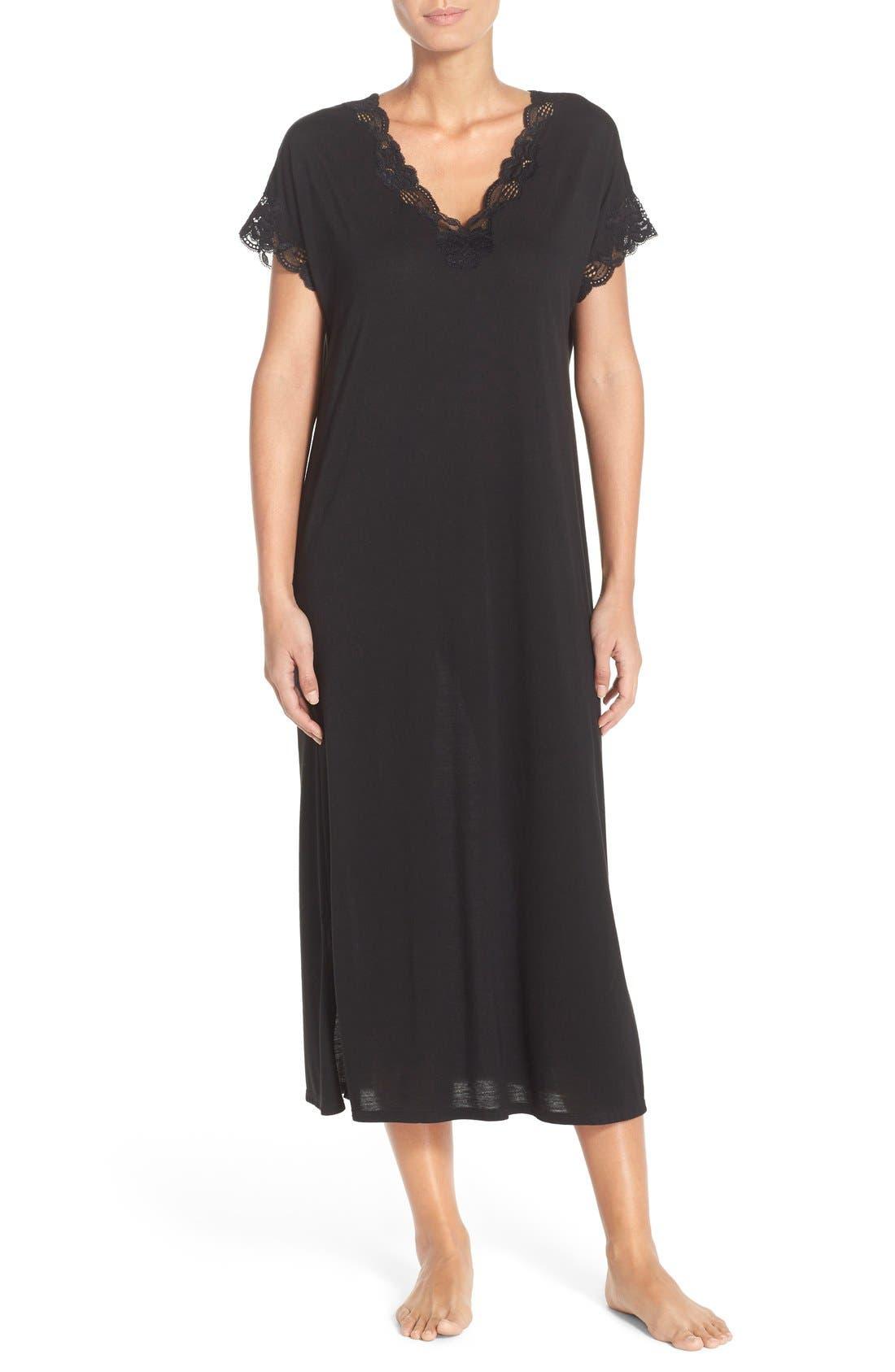 'Zen' Short SleeveNightgown,                         Main,                         color, BLACK