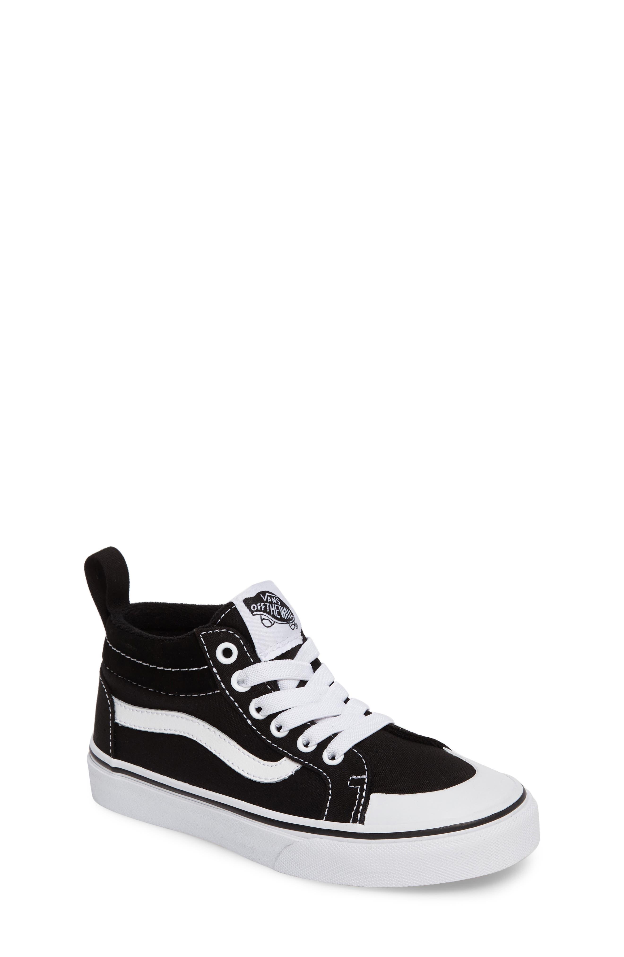 Racer Mid Elastic Lace Sneaker,                             Main thumbnail 1, color,                             BLACK/ TRUE WHITE CANVAS