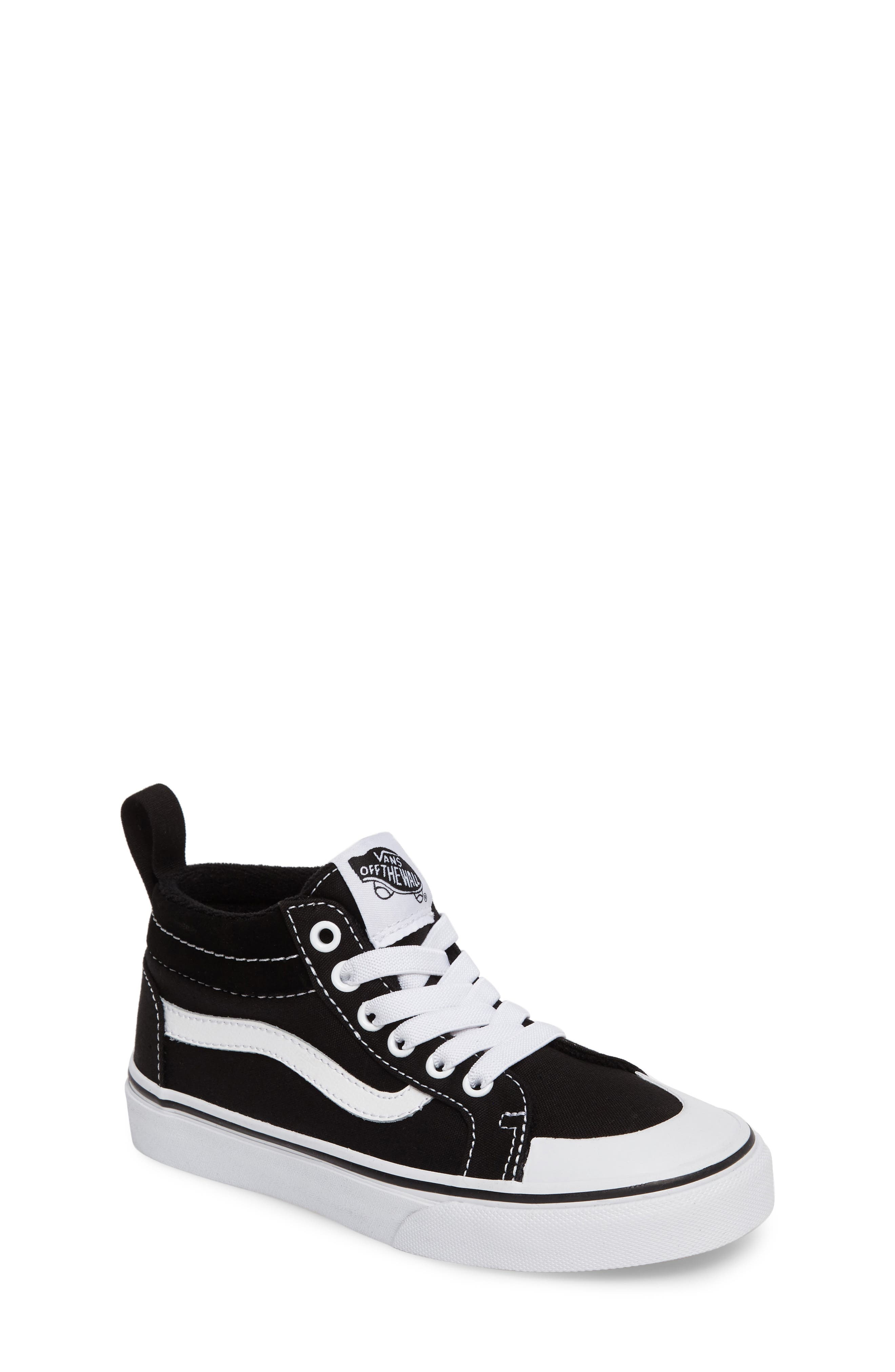 Racer Mid Elastic Lace Sneaker,                         Main,                         color, BLACK/ TRUE WHITE CANVAS