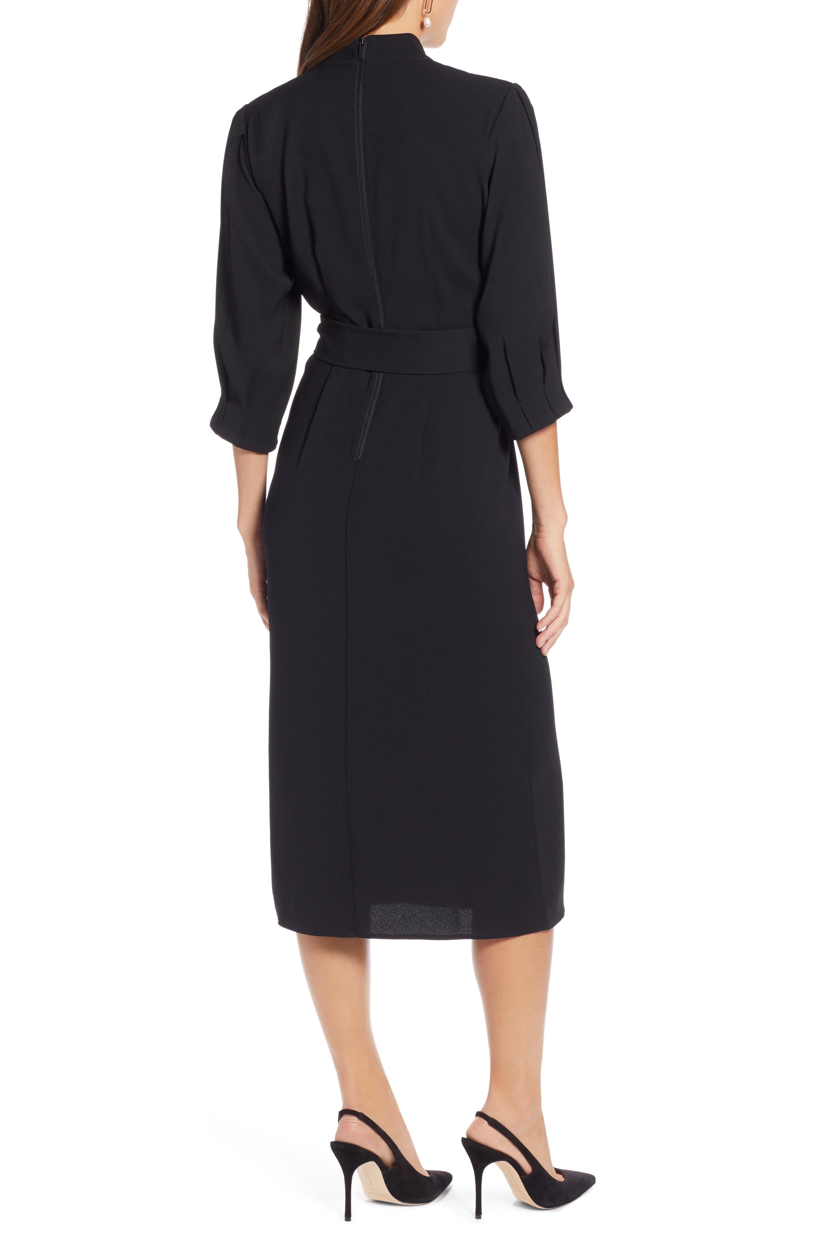 HALOGEN<SUP>®</SUP>,                             Tie Waist Dress,                             Alternate thumbnail 2, color,                             001