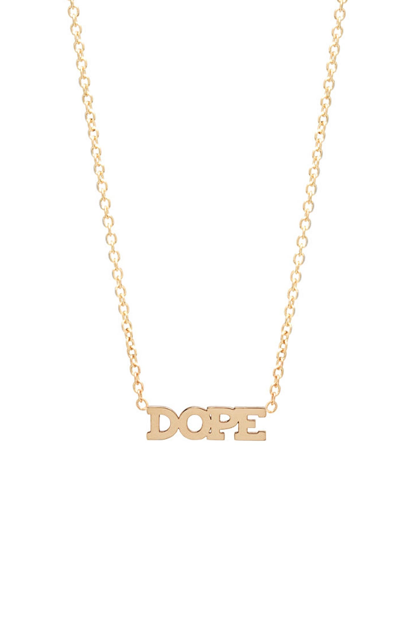Itty Bitty Dope Pendant Necklace,                             Main thumbnail 1, color,                             YELLOW GOLD
