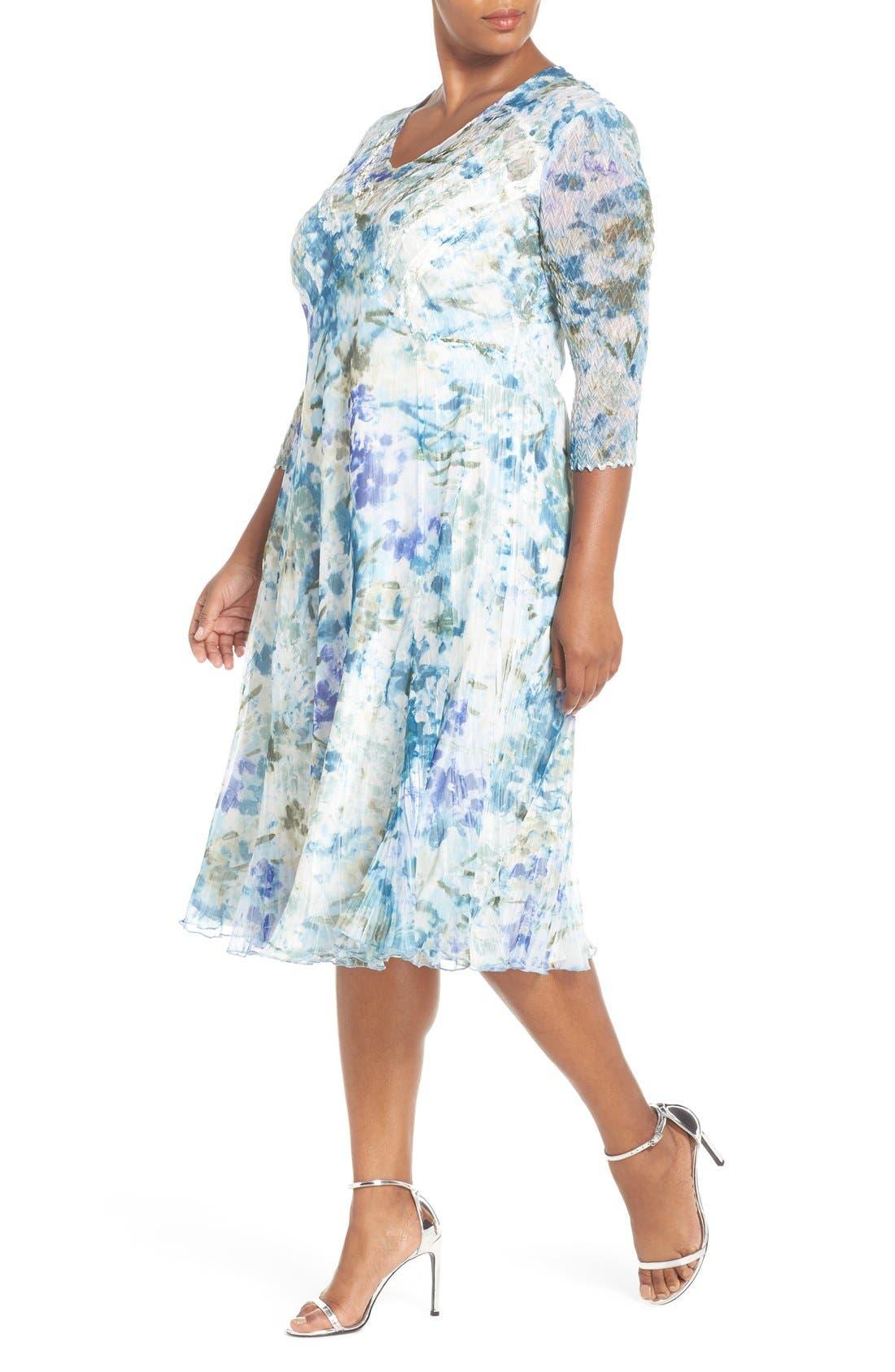 Print Three-Quarter Sleeve Chiffon A-Line Dress,                             Alternate thumbnail 4, color,