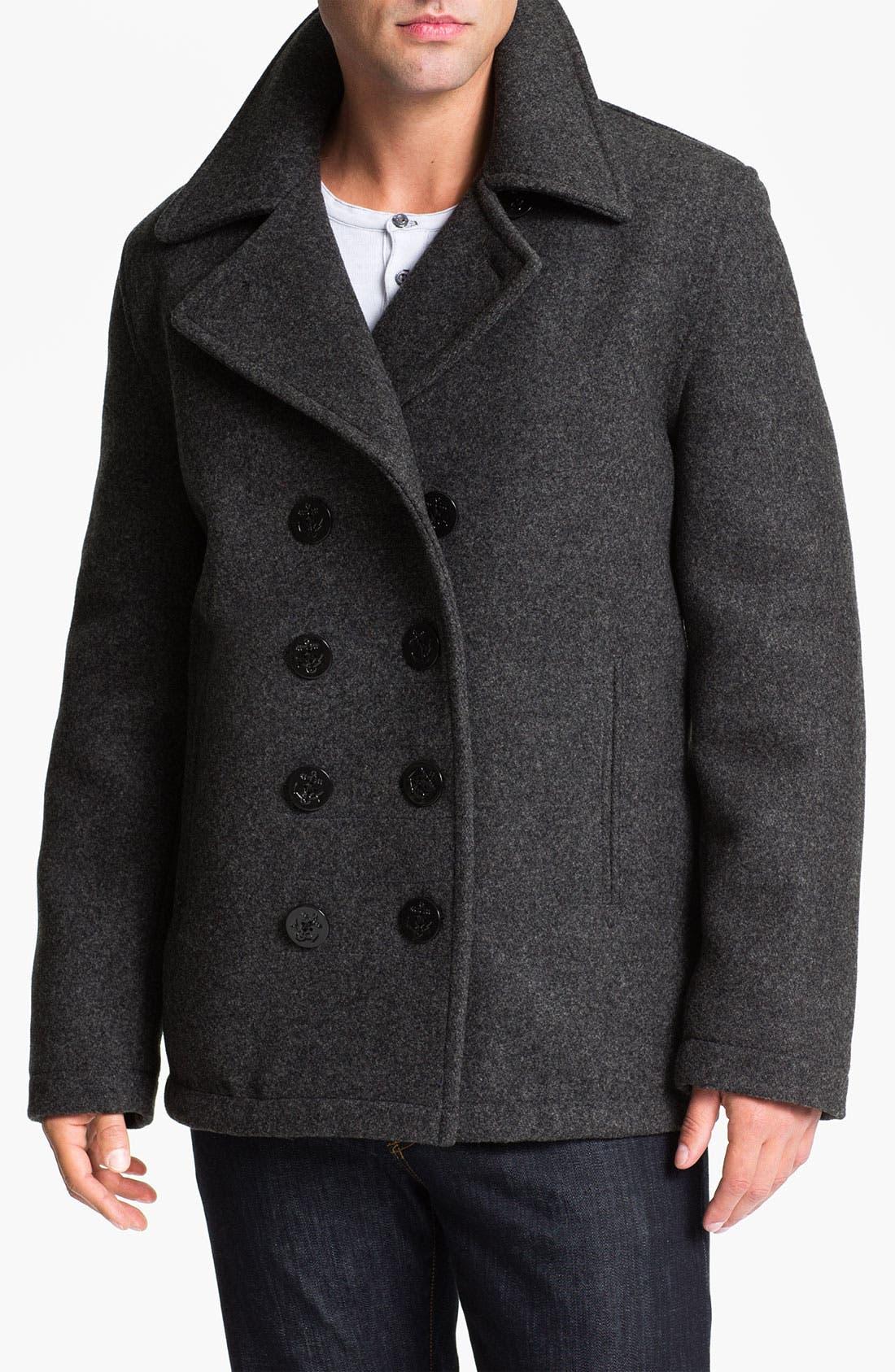 SPIEWAK 'Dugan' Wool Blend Peacoat, Main, color, 020