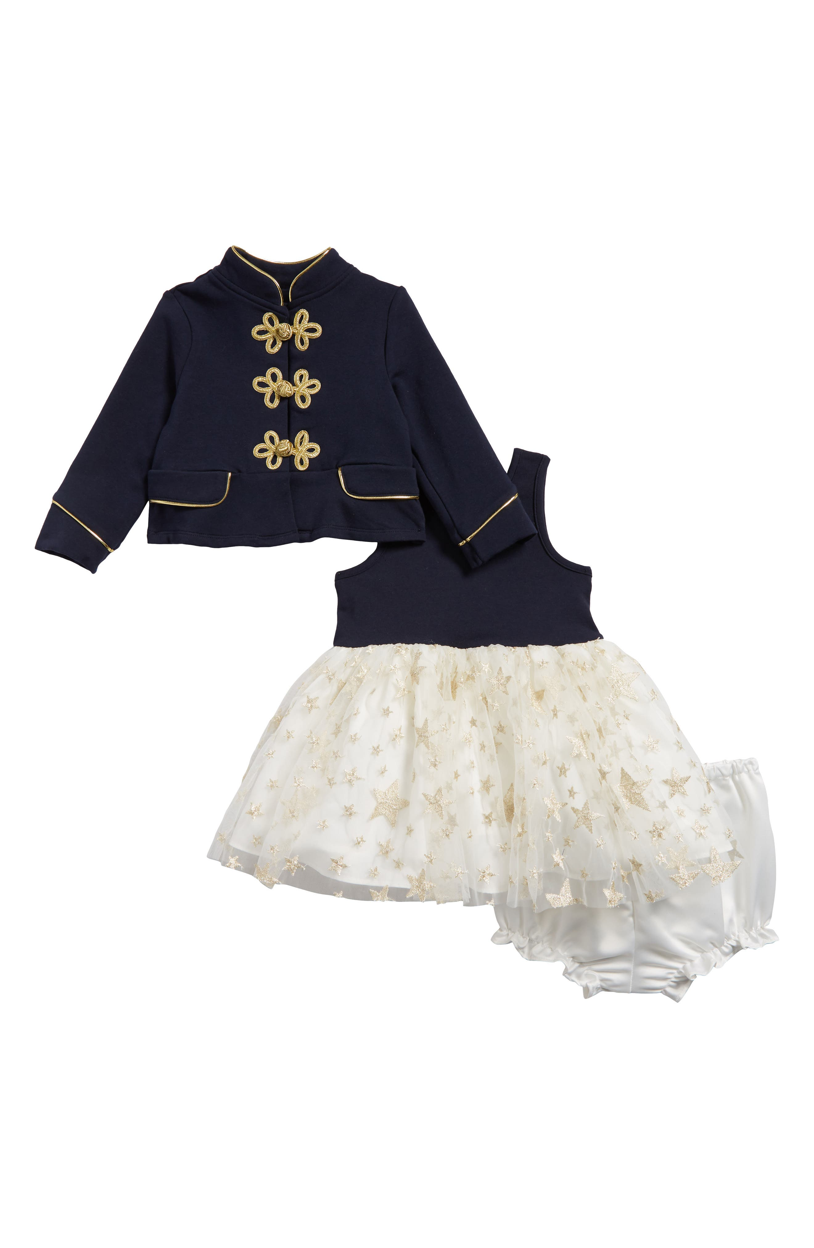 Majorette Jacket & Tank Dress Set, Main, color, NAVY/ GOLD