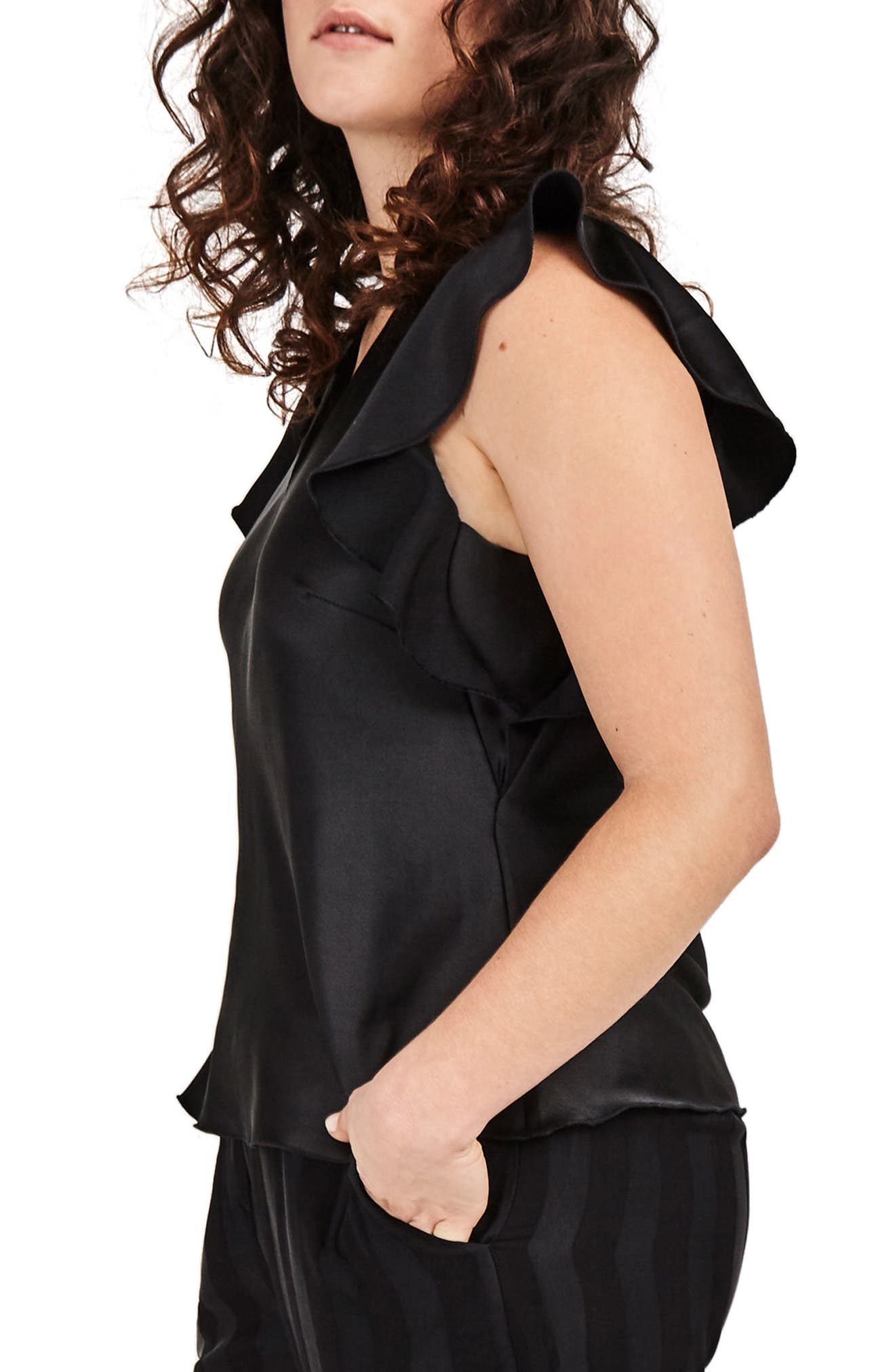 Black Satin Ruffle Top,                             Alternate thumbnail 3, color,                             001