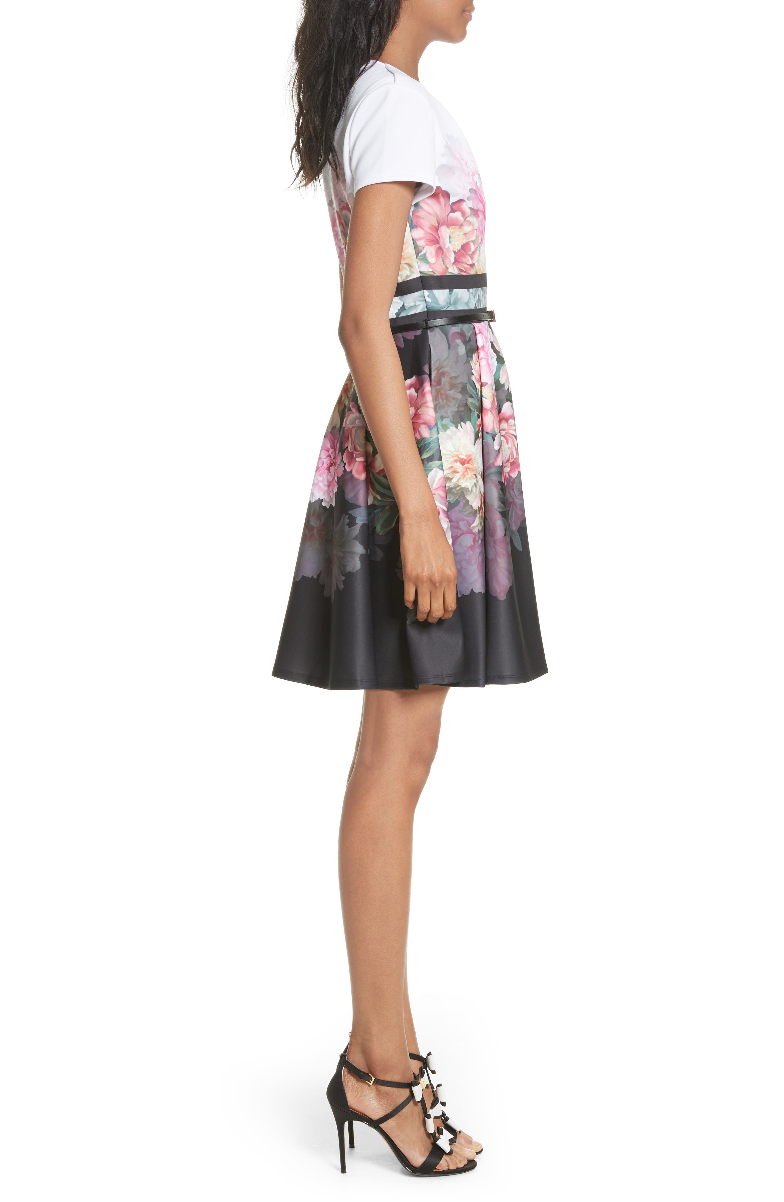 Valerey Painted Posie Belted Skater Dress,                             Alternate thumbnail 3, color,                             682