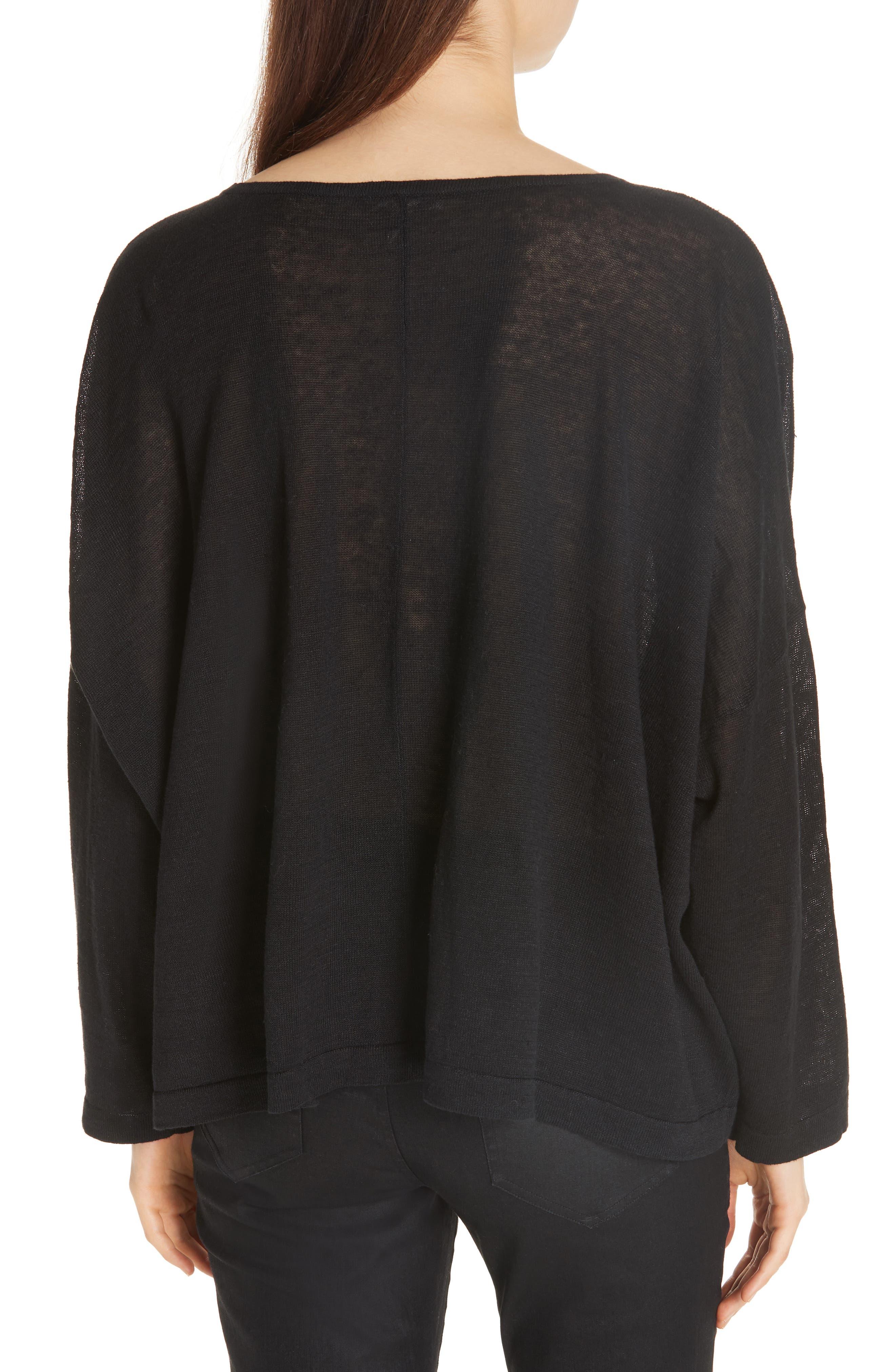 Boxy Organic Linen Sweater,                             Alternate thumbnail 2, color,                             BLACK