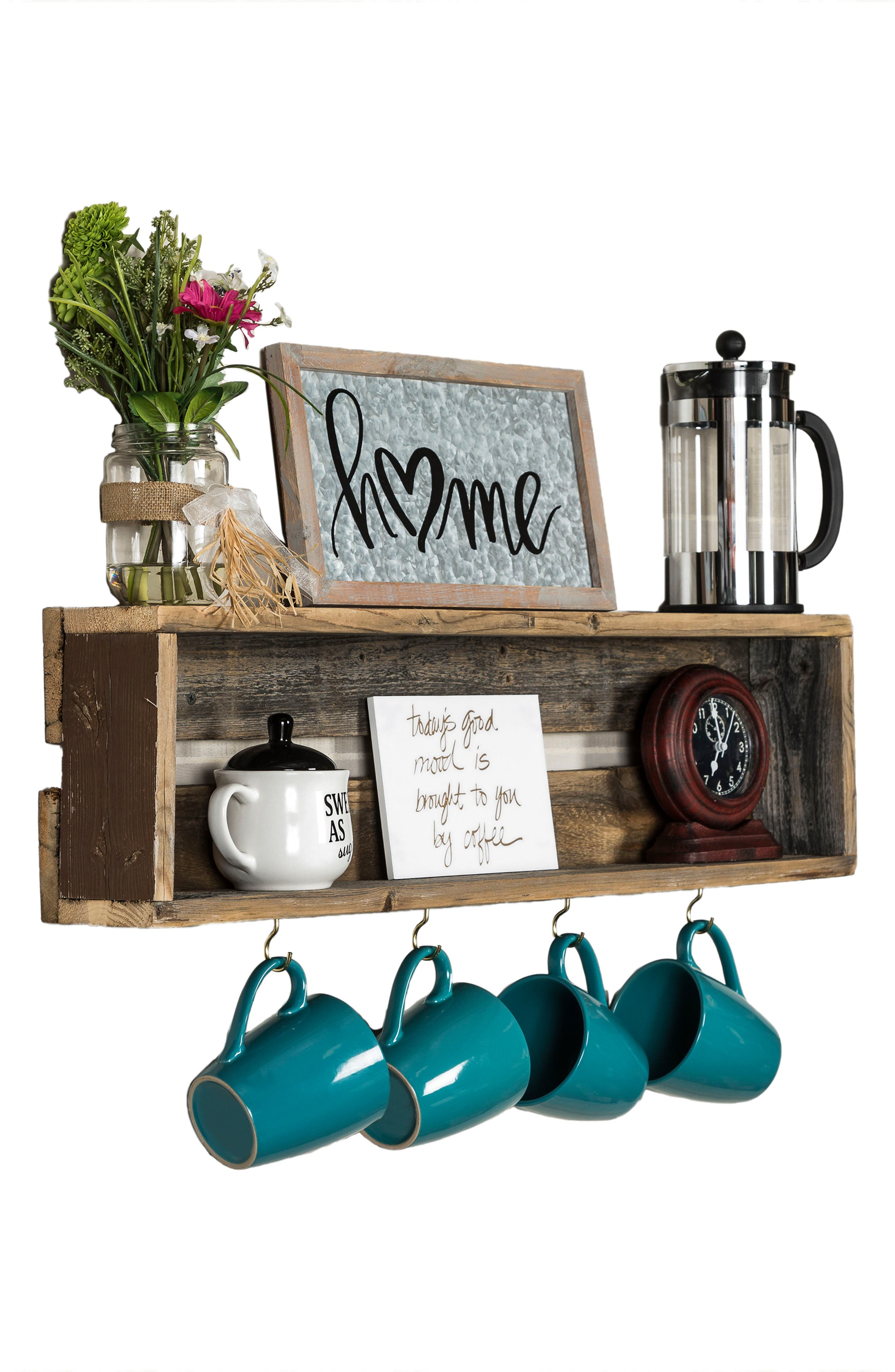 Repurposed Wood Shelf with Hooks,                             Alternate thumbnail 6, color,                             200
