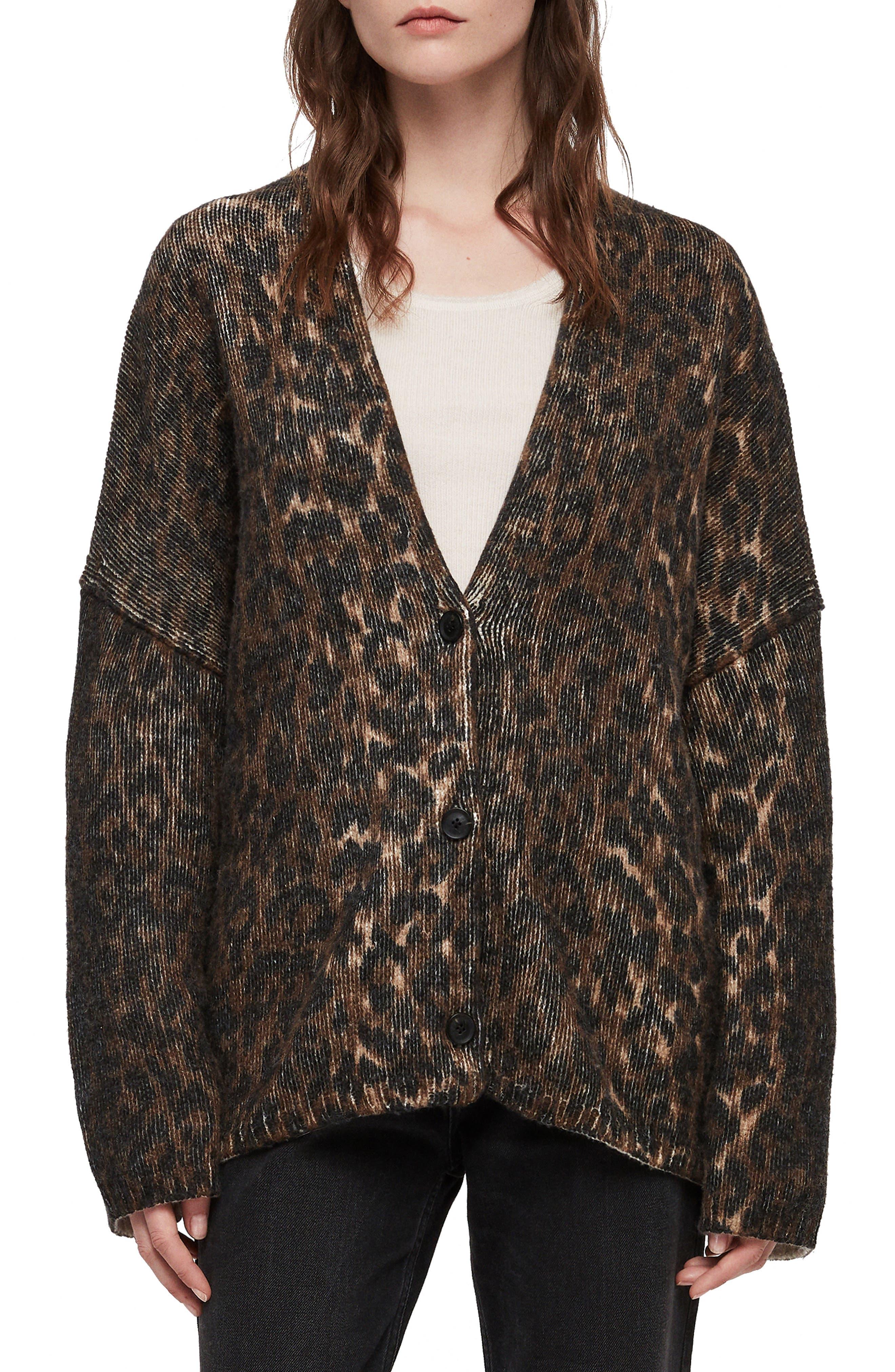 Ph Leopard Wool Blend Cardigan,                             Main thumbnail 1, color,                             LEOPARD BROWN